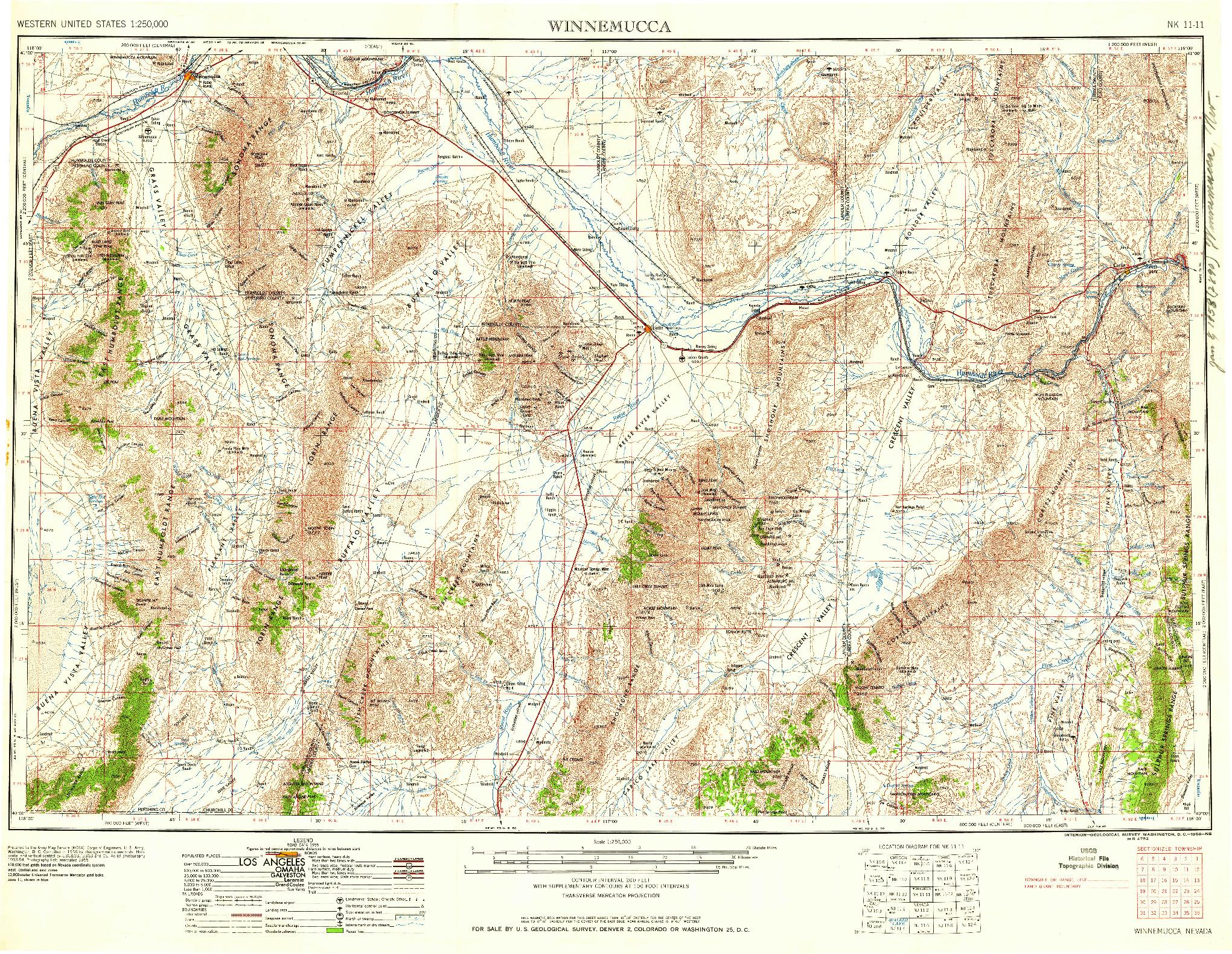 USGS 1:250000-SCALE QUADRANGLE FOR WINNEMUCCA, NV 1958