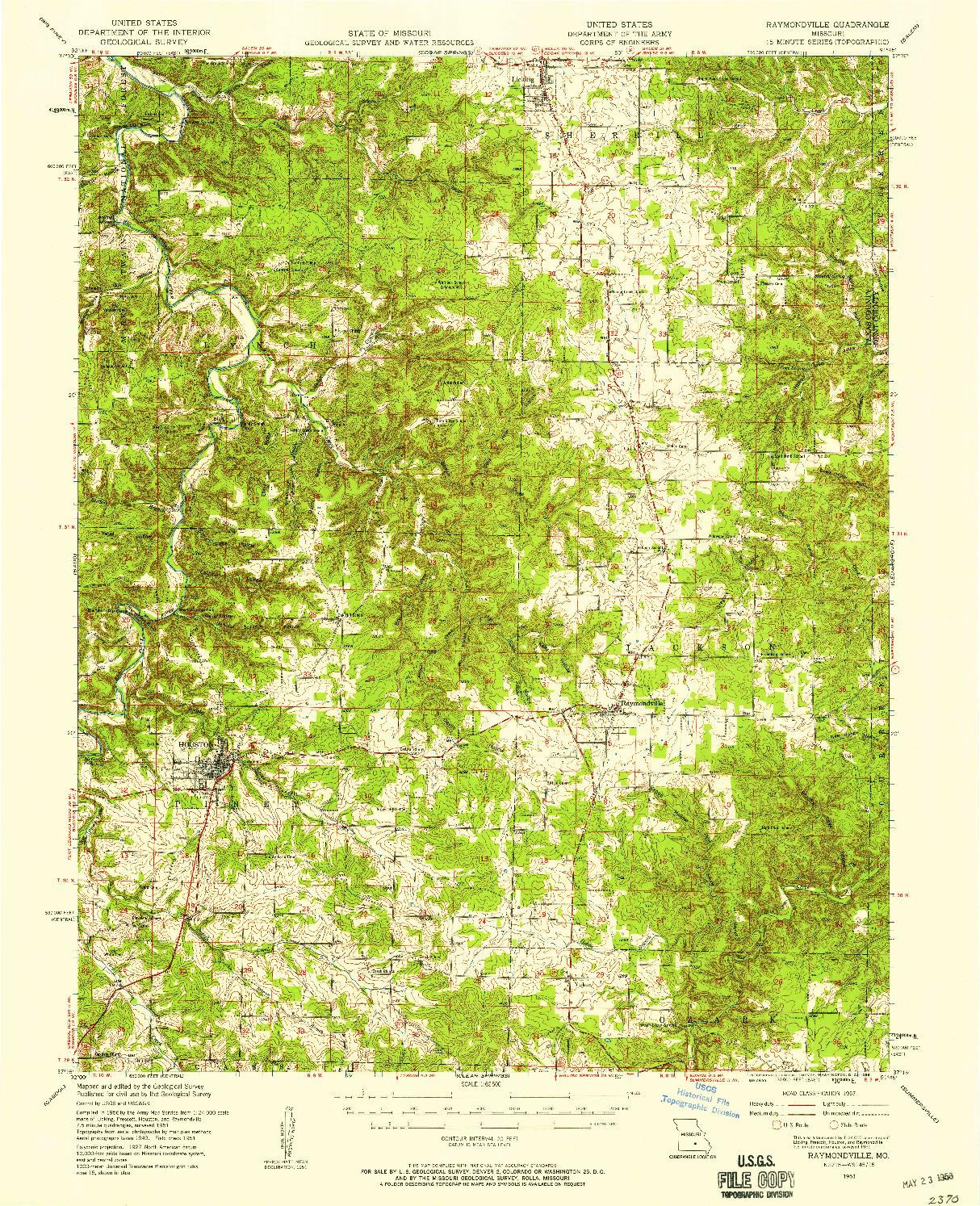 USGS 1:62500-SCALE QUADRANGLE FOR RAYMONDVILLE, MO 1951