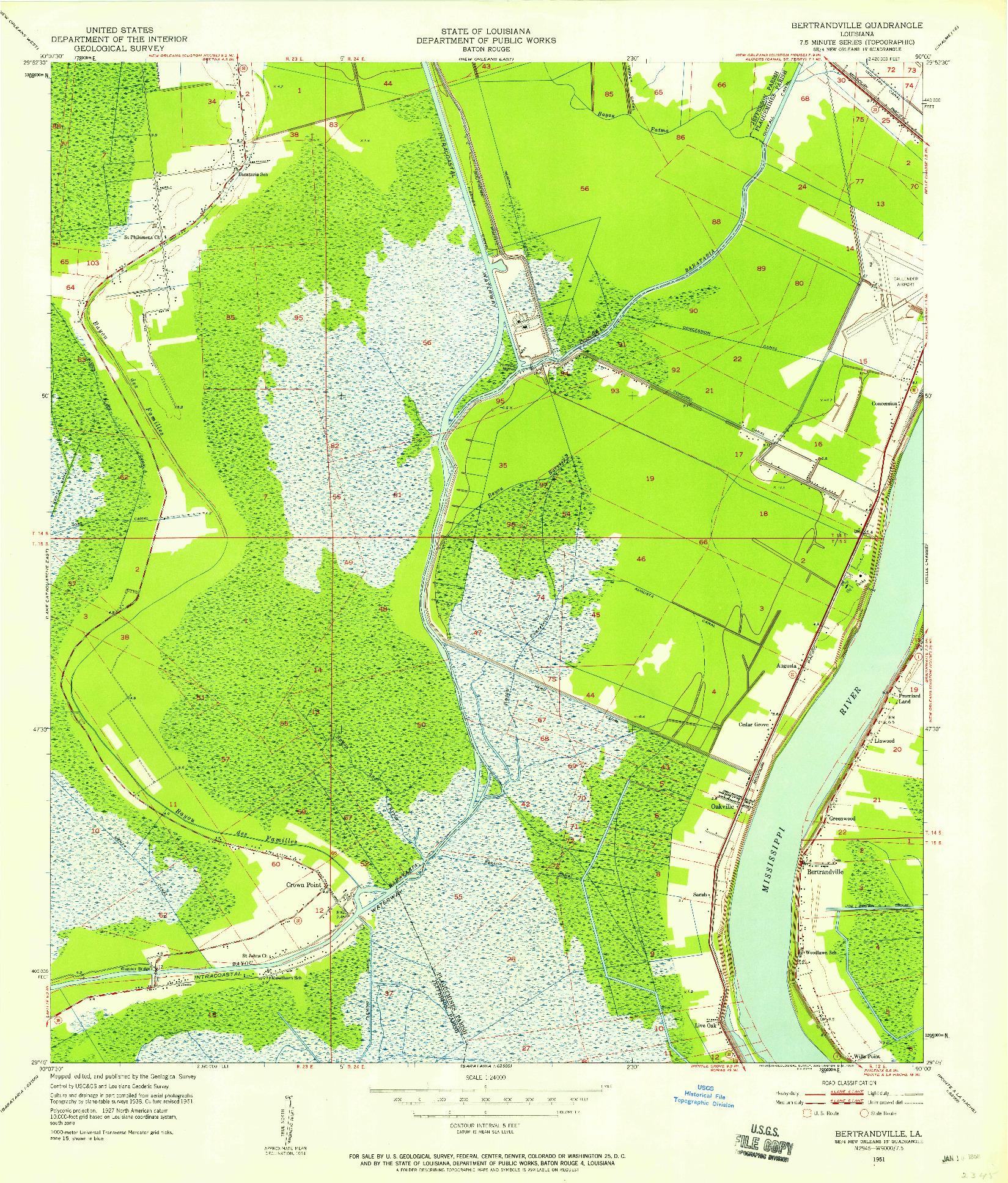 USGS 1:24000-SCALE QUADRANGLE FOR BERTRANDVILLE, LA 1951