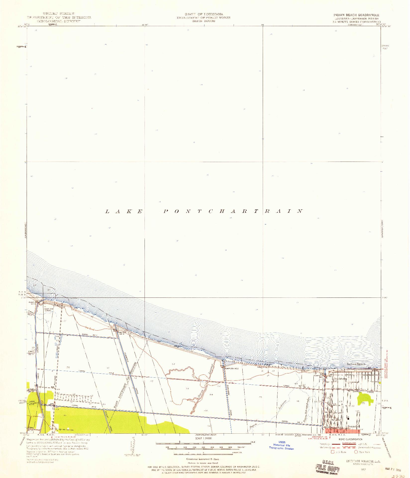 USGS 1:24000-SCALE QUADRANGLE FOR INDIAN BEACH, LA 1952