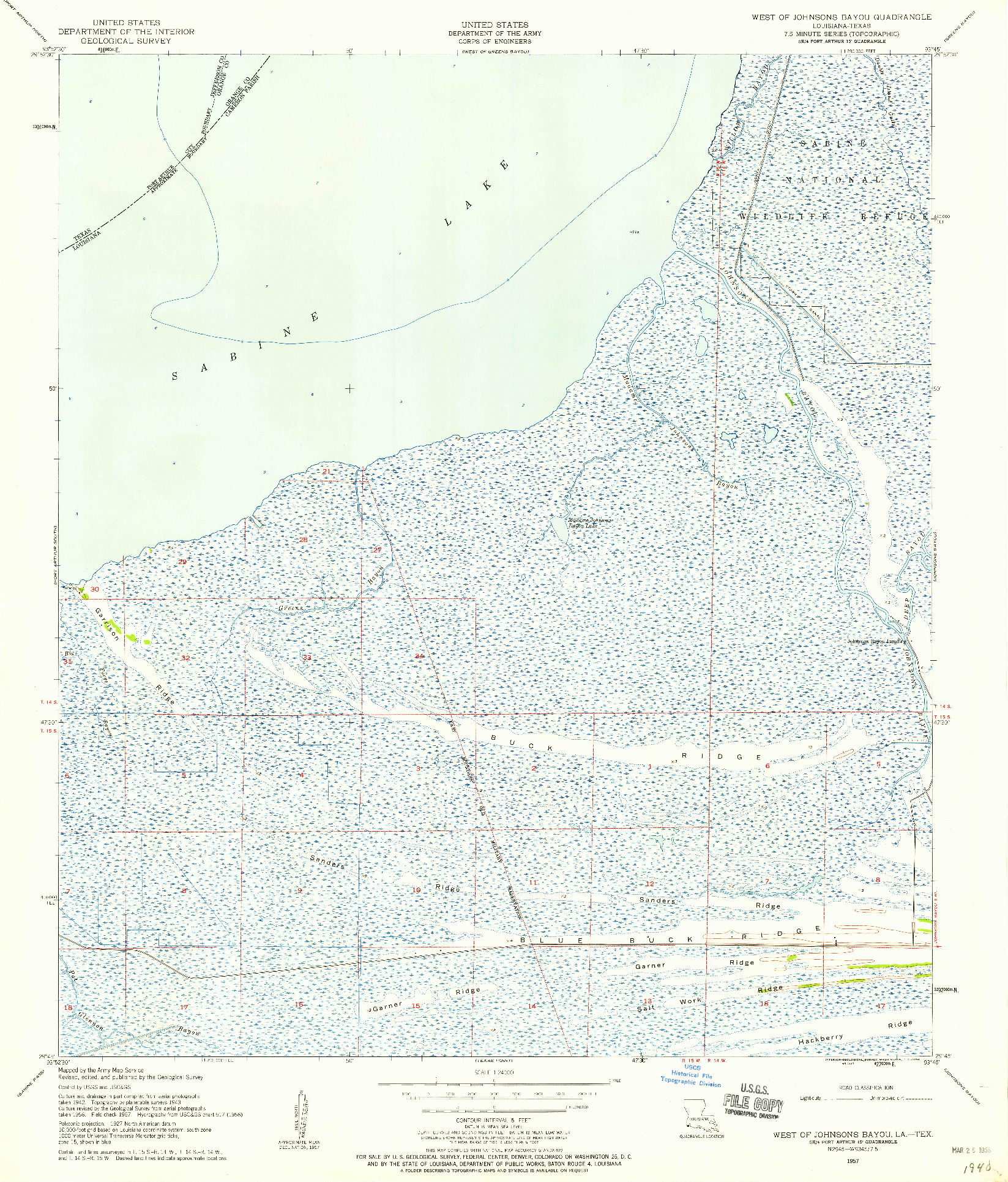 USGS 1:24000-SCALE QUADRANGLE FOR WEST OF JOHNSON BAYOU, LA 1957