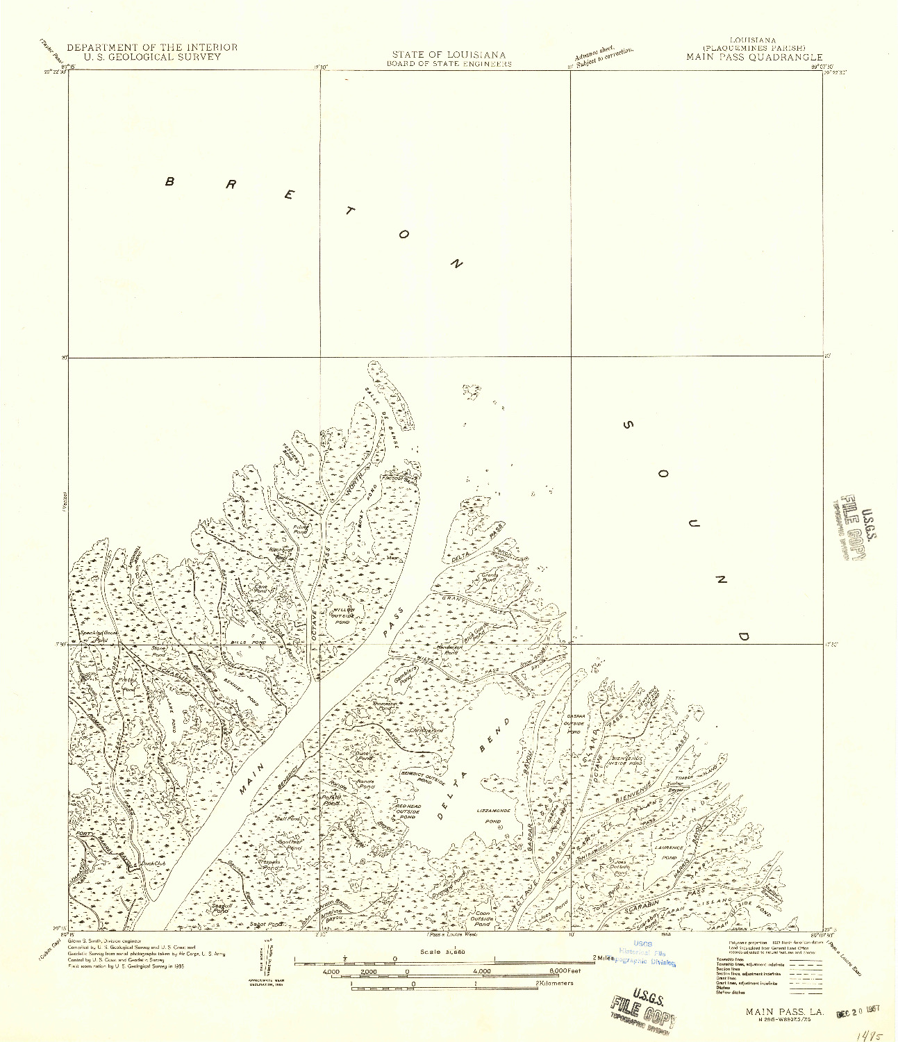 USGS 1:31680-SCALE QUADRANGLE FOR MAIN PASS, LA 1958