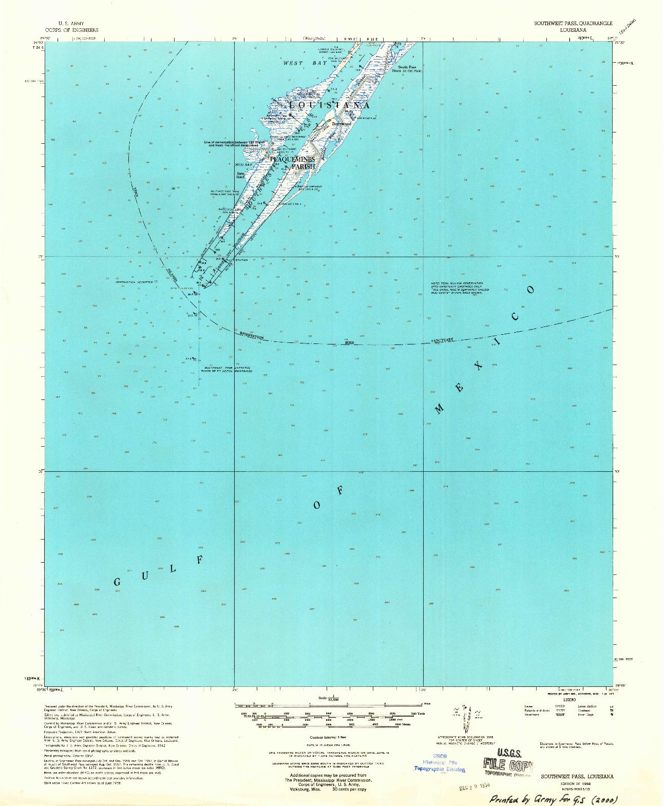 USGS 1:62500-SCALE QUADRANGLE FOR SOUTHWEST PASS, LA 1958