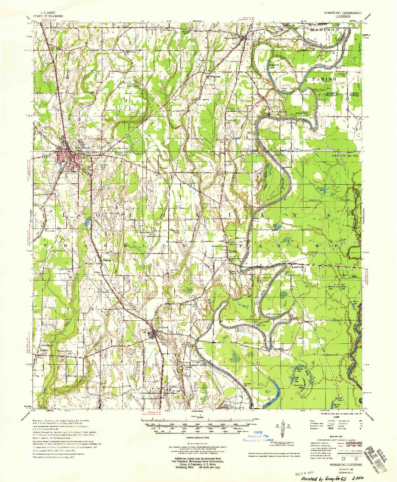 USGS 1:62500-SCALE QUADRANGLE FOR WINNSBORO, LA 1958