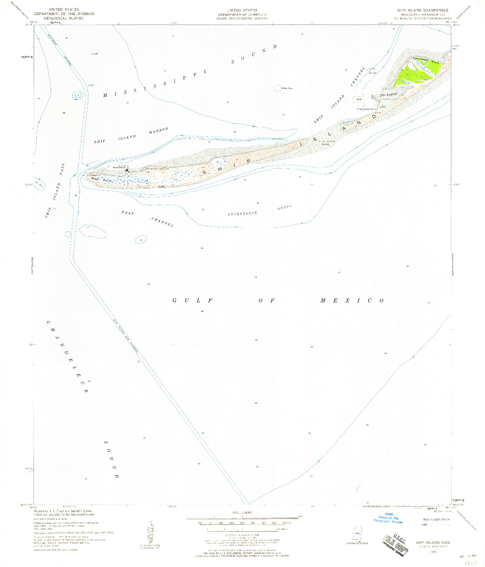 USGS 1:24000-SCALE QUADRANGLE FOR SHIP ISLAND, MS 1950