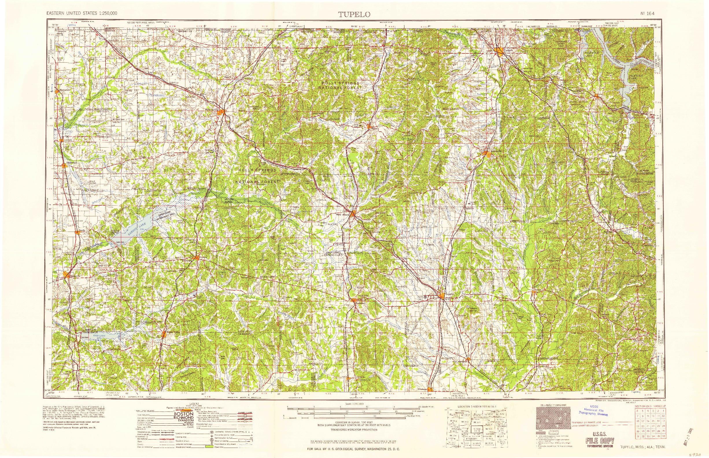 USGS 1:250000-SCALE QUADRANGLE FOR TUPELO, MS 1958