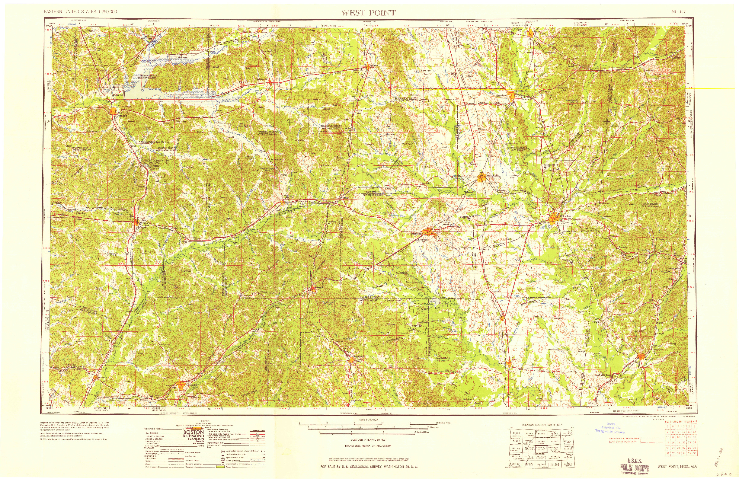 USGS 1:250000-SCALE QUADRANGLE FOR WEST POINT, MS 1958