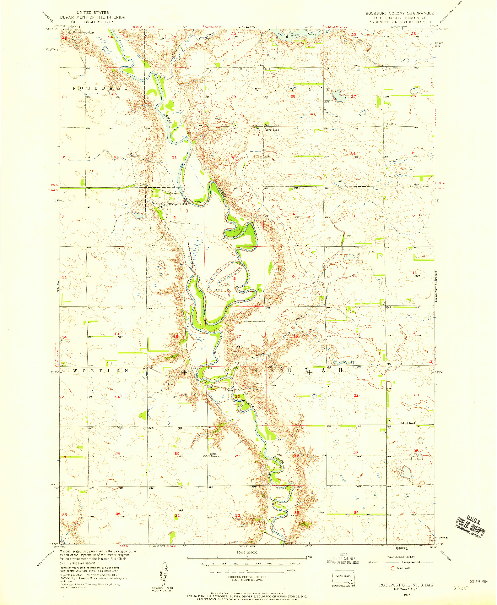USGS 1:24000-SCALE QUADRANGLE FOR ROCKPORT COLONY, SD 1957