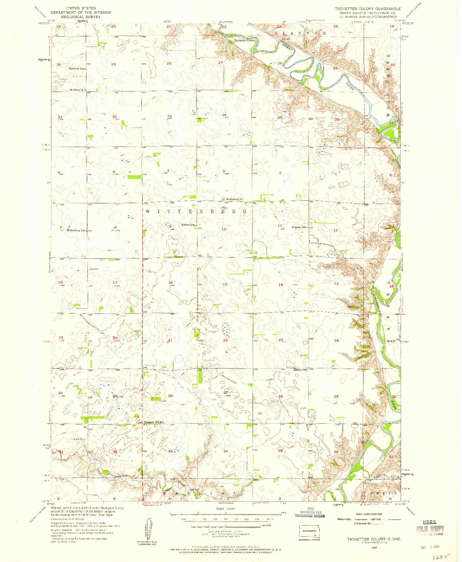 USGS 1:24000-SCALE QUADRANGLE FOR TSCHETTER COLONY, SD 1957
