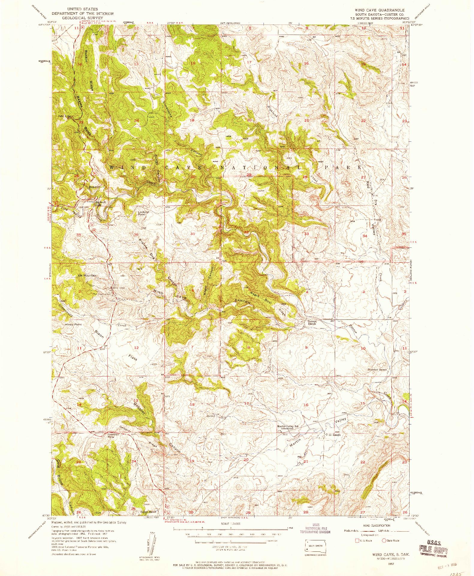 USGS 1:24000-SCALE QUADRANGLE FOR WIND CAVE, SD 1957