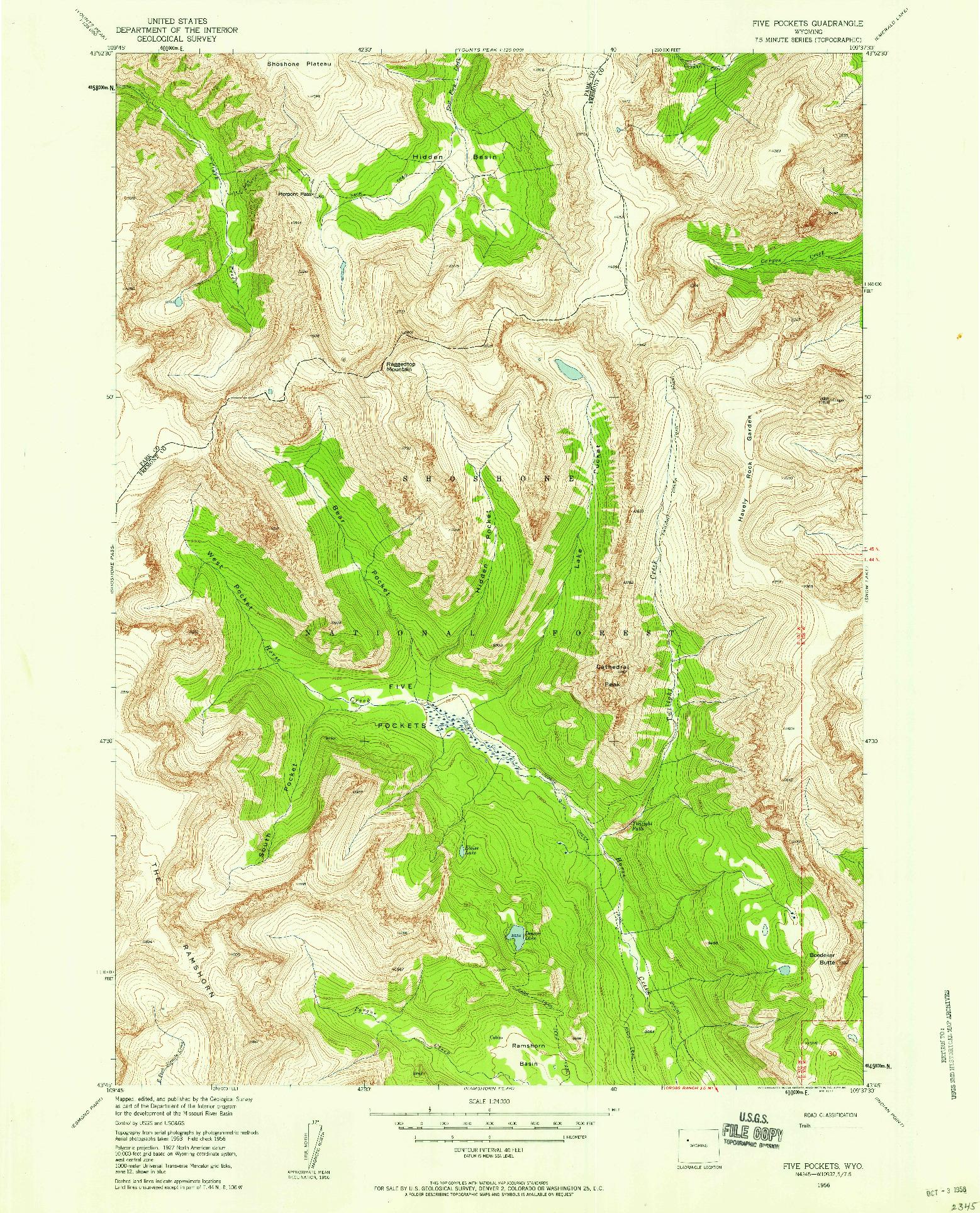 USGS 1:24000-SCALE QUADRANGLE FOR FIVE POCKETS, WY 1956