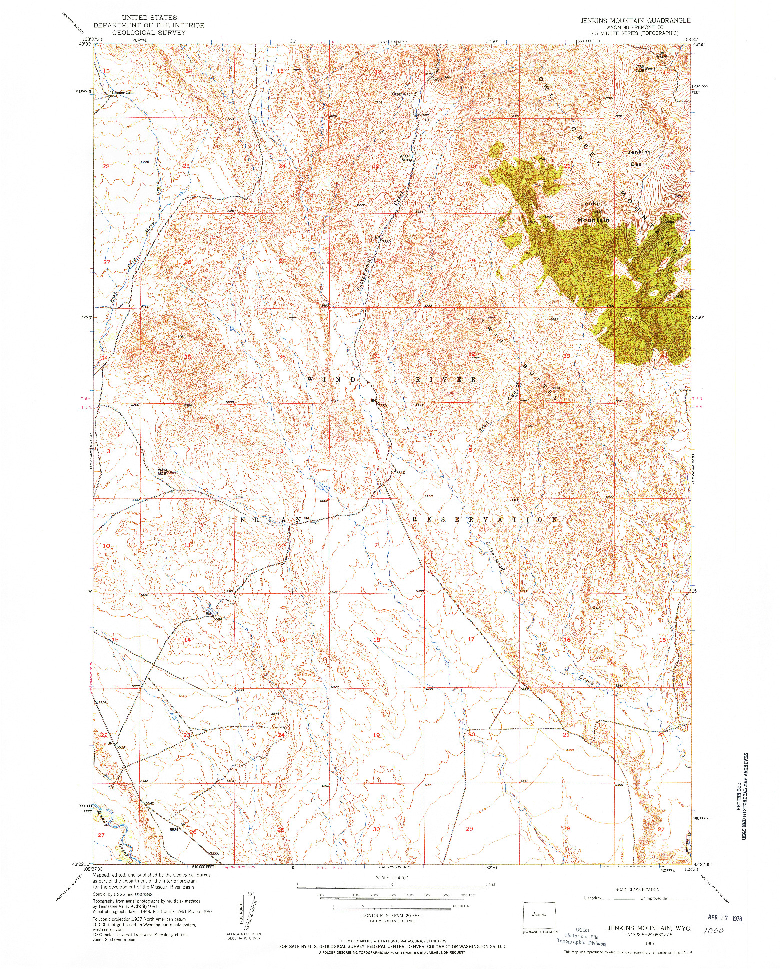 USGS 1:24000-SCALE QUADRANGLE FOR JENKINS MOUNTAIN, WY 1957