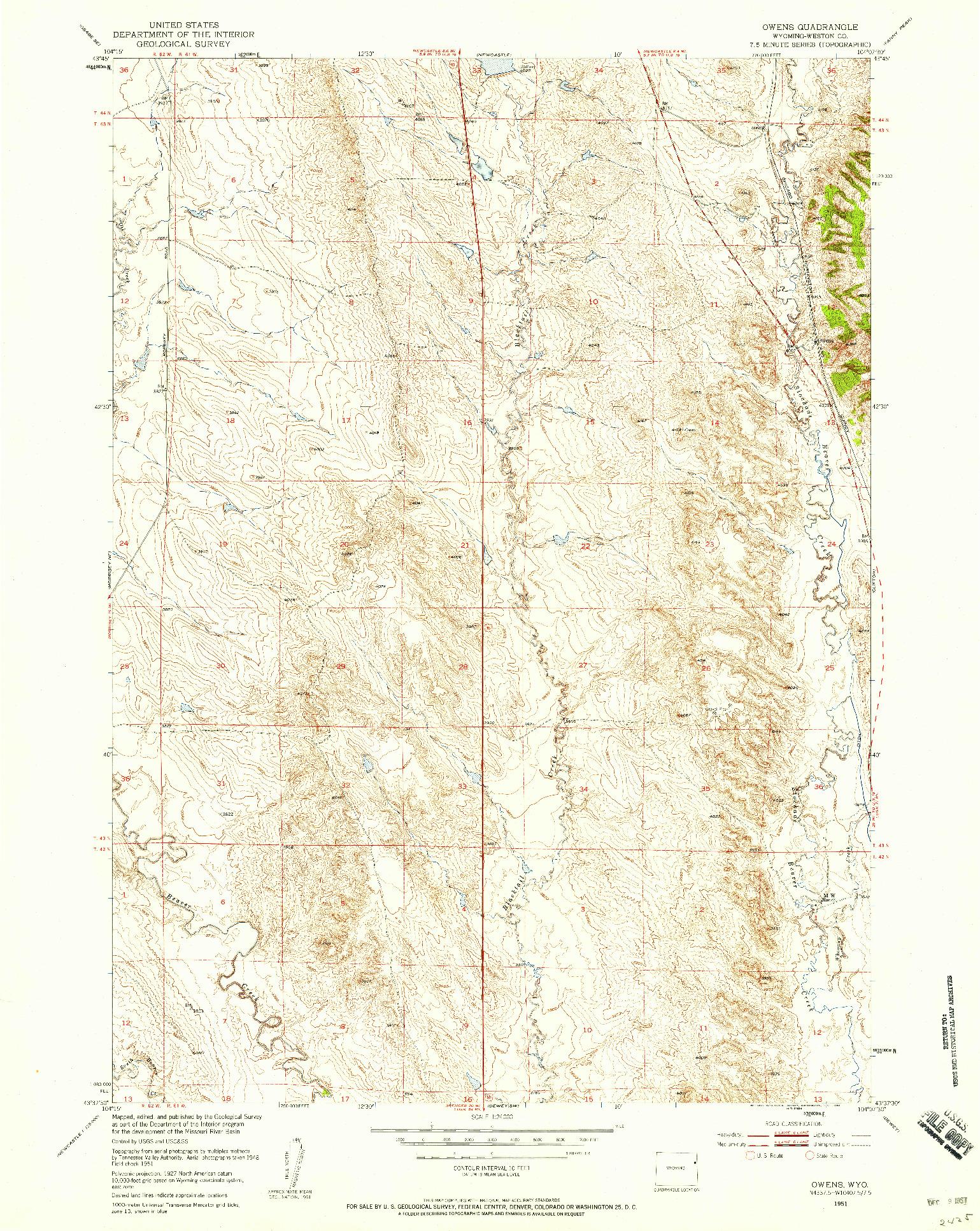 USGS 1:24000-SCALE QUADRANGLE FOR OWENS, WY 1951
