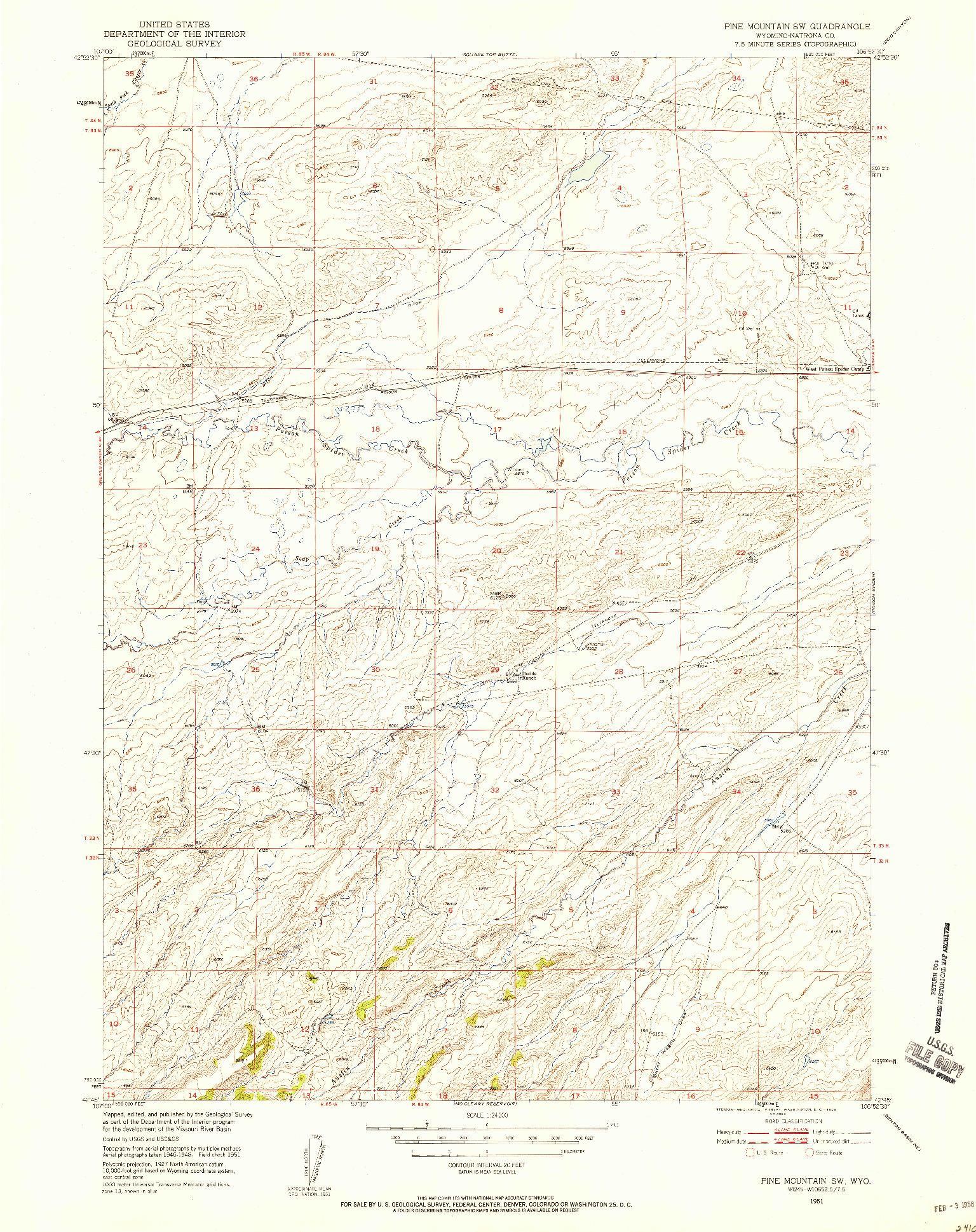 USGS 1:24000-SCALE QUADRANGLE FOR PINE MOUNTAIN SW, WY 1951