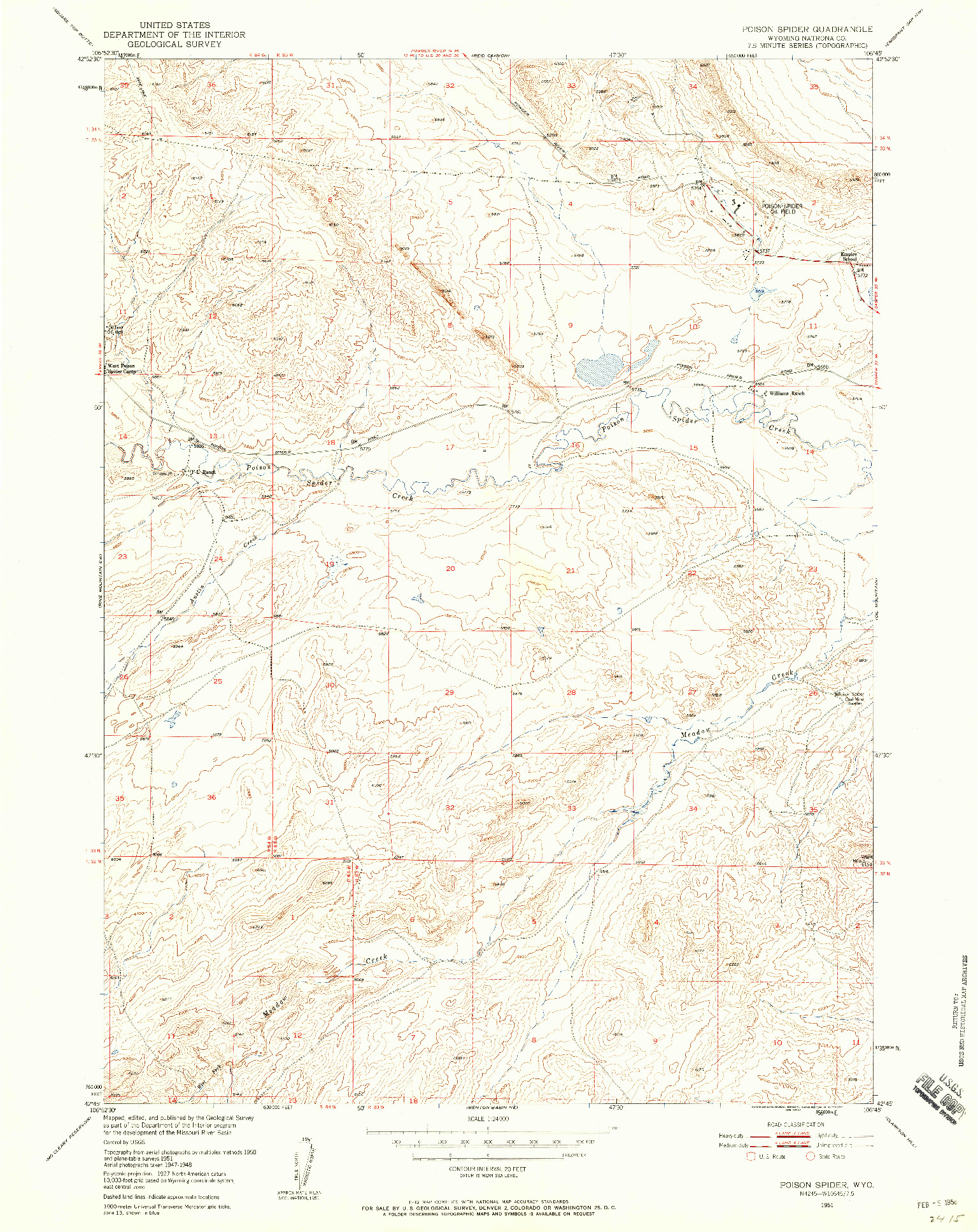 USGS 1:24000-SCALE QUADRANGLE FOR POISON SPIDER, WY 1951