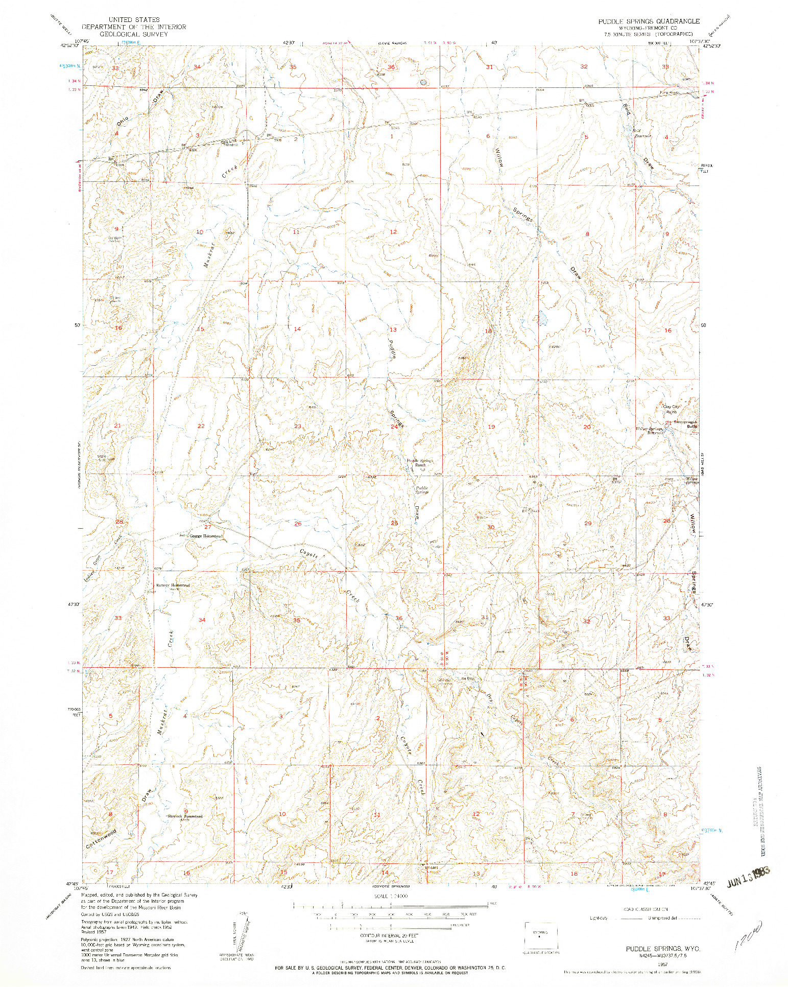 USGS 1:24000-SCALE QUADRANGLE FOR PUDDLE SPRINGS, WY 1957