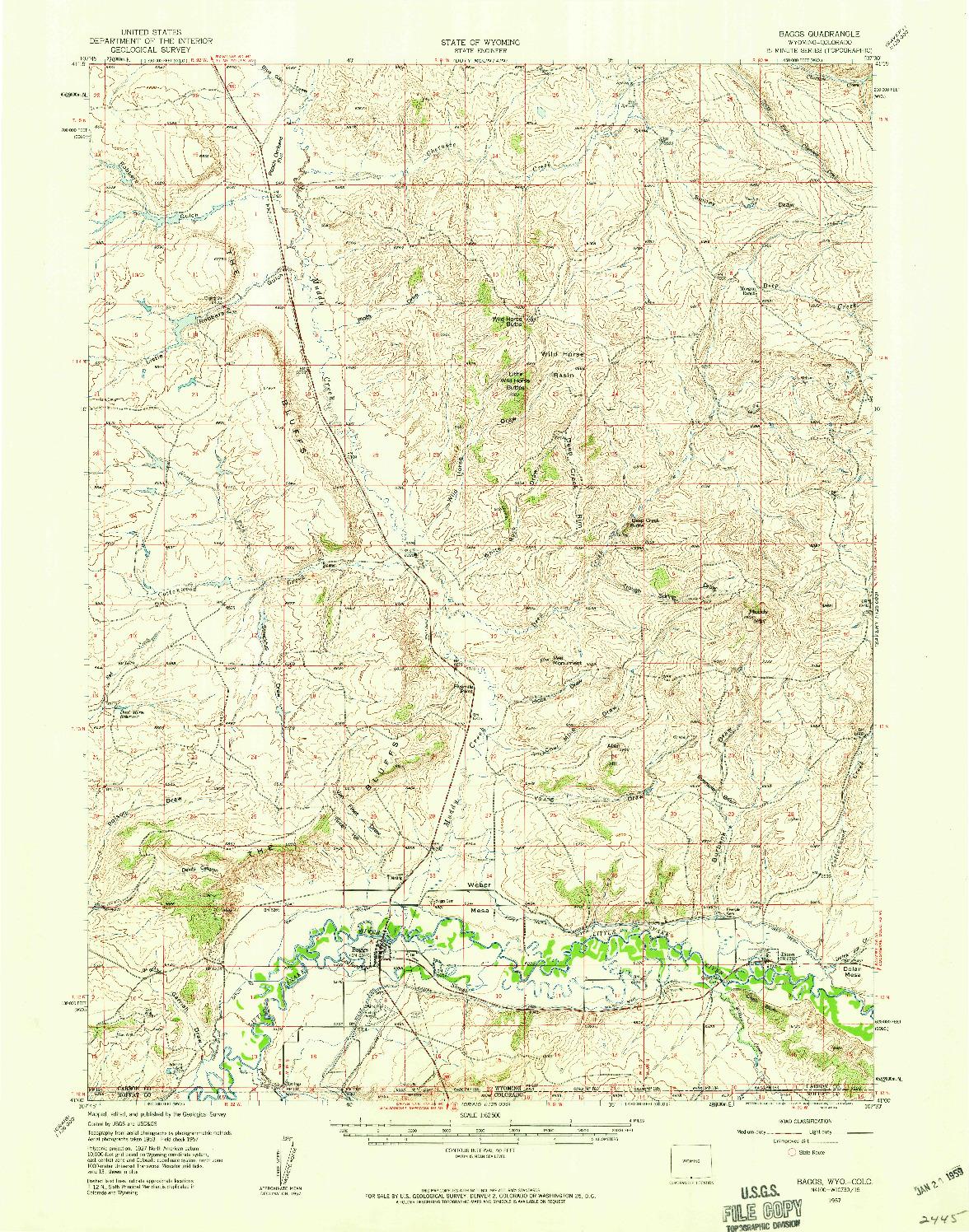 USGS 1:62500-SCALE QUADRANGLE FOR BAGGS, WY 1957