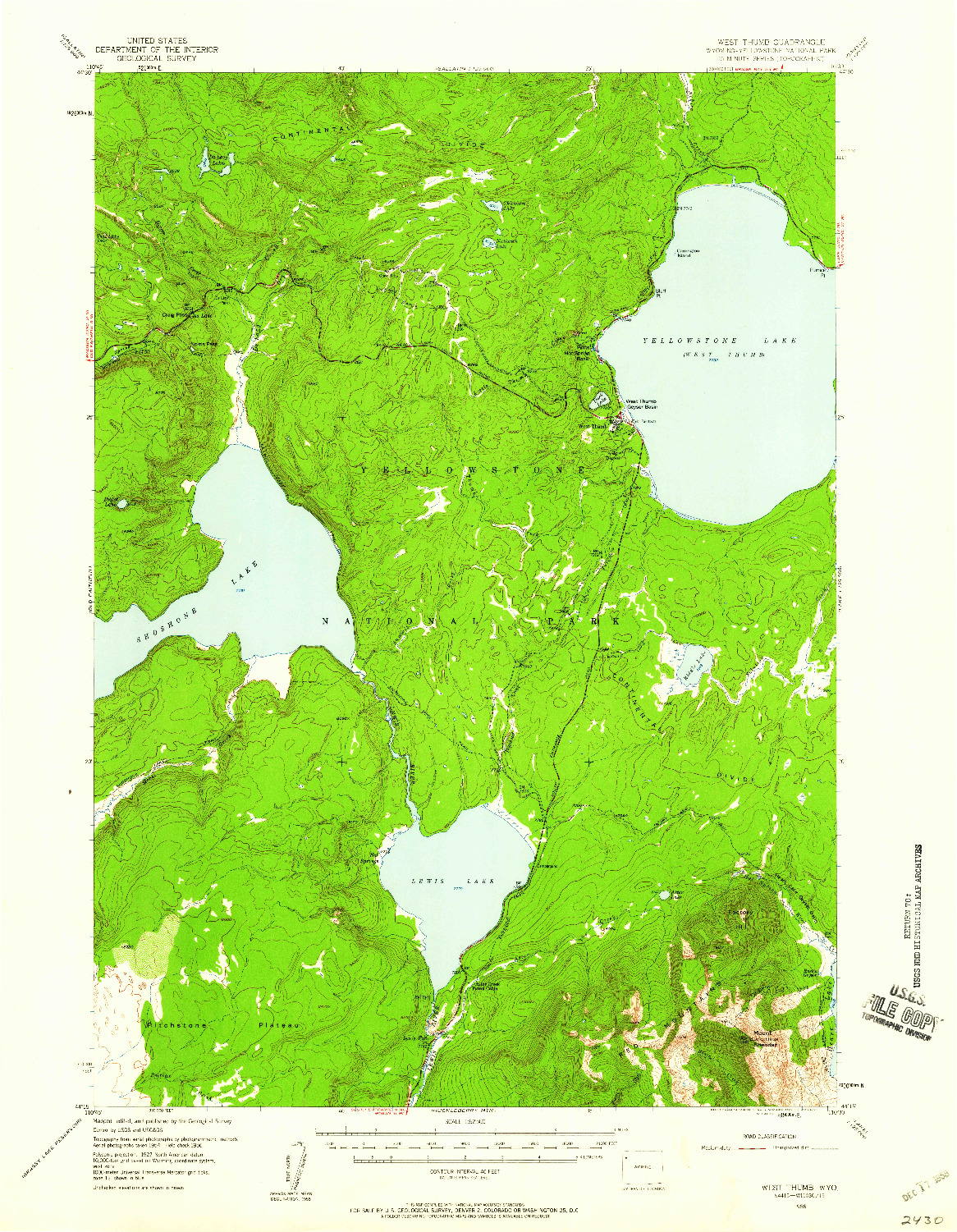 USGS 1:62500-SCALE QUADRANGLE FOR WEST THUMB, WY 1956