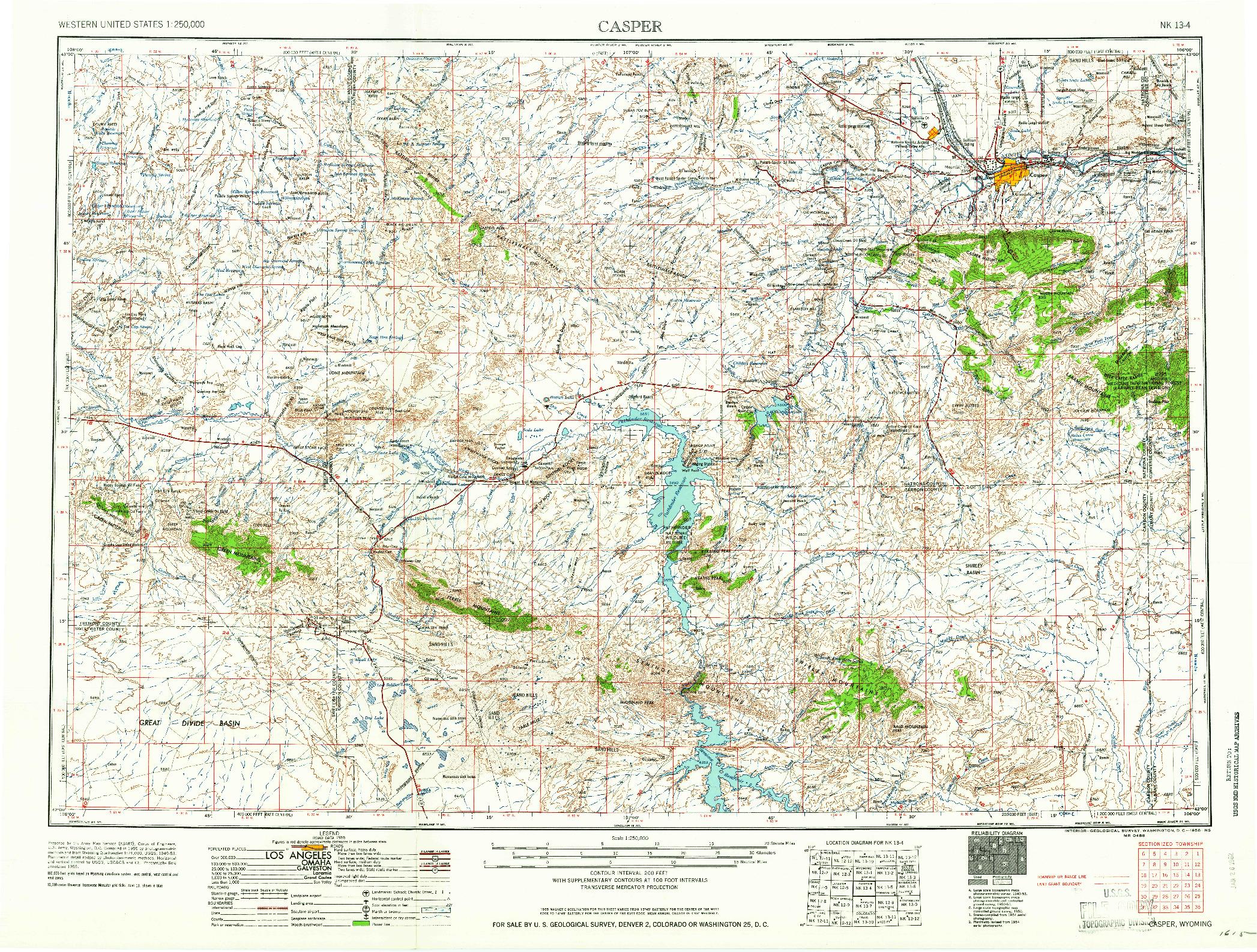USGS 1:250000-SCALE QUADRANGLE FOR CASPER, WY 1958