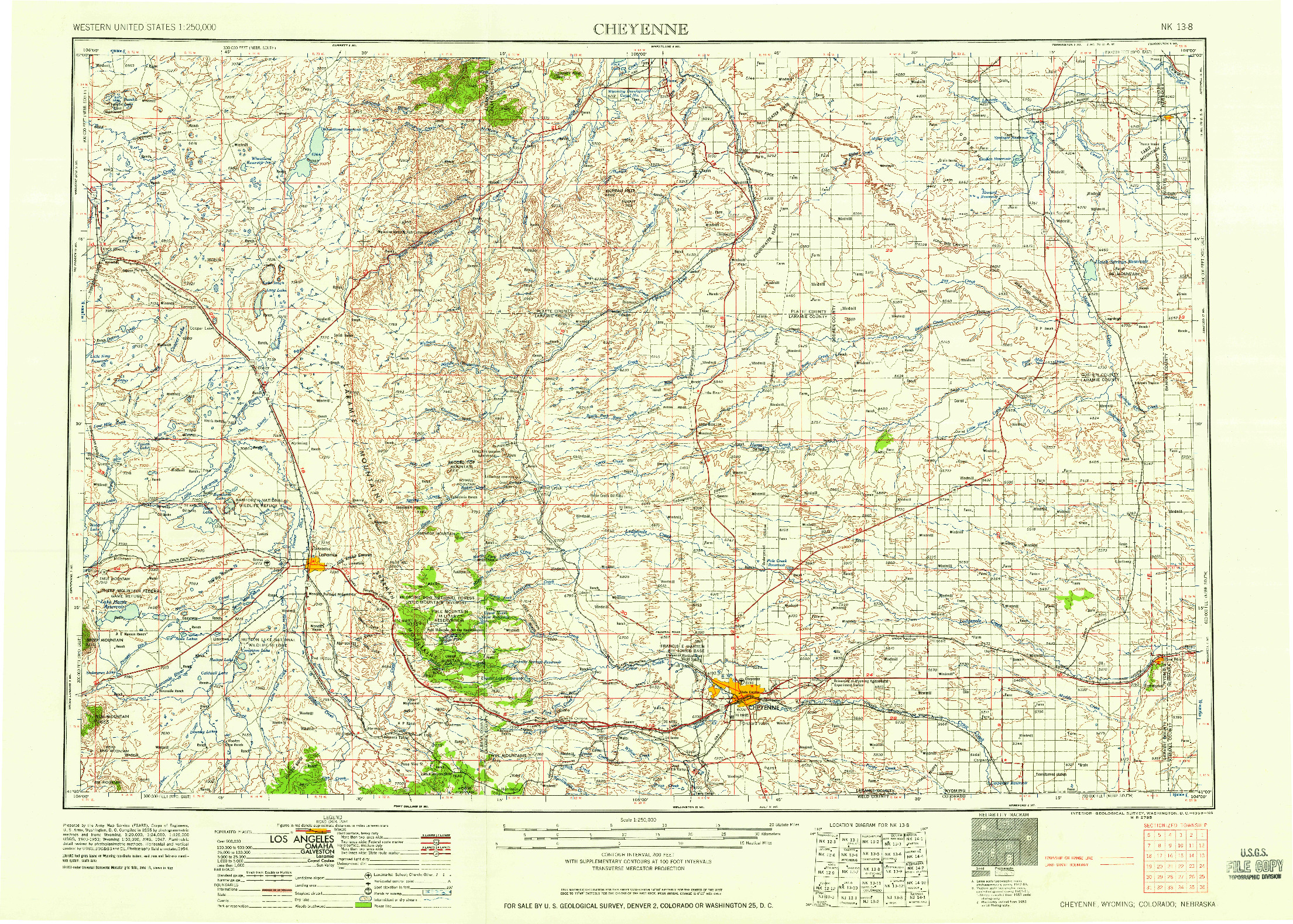 USGS 1:250000-SCALE QUADRANGLE FOR CHEYENNE, WY 1958