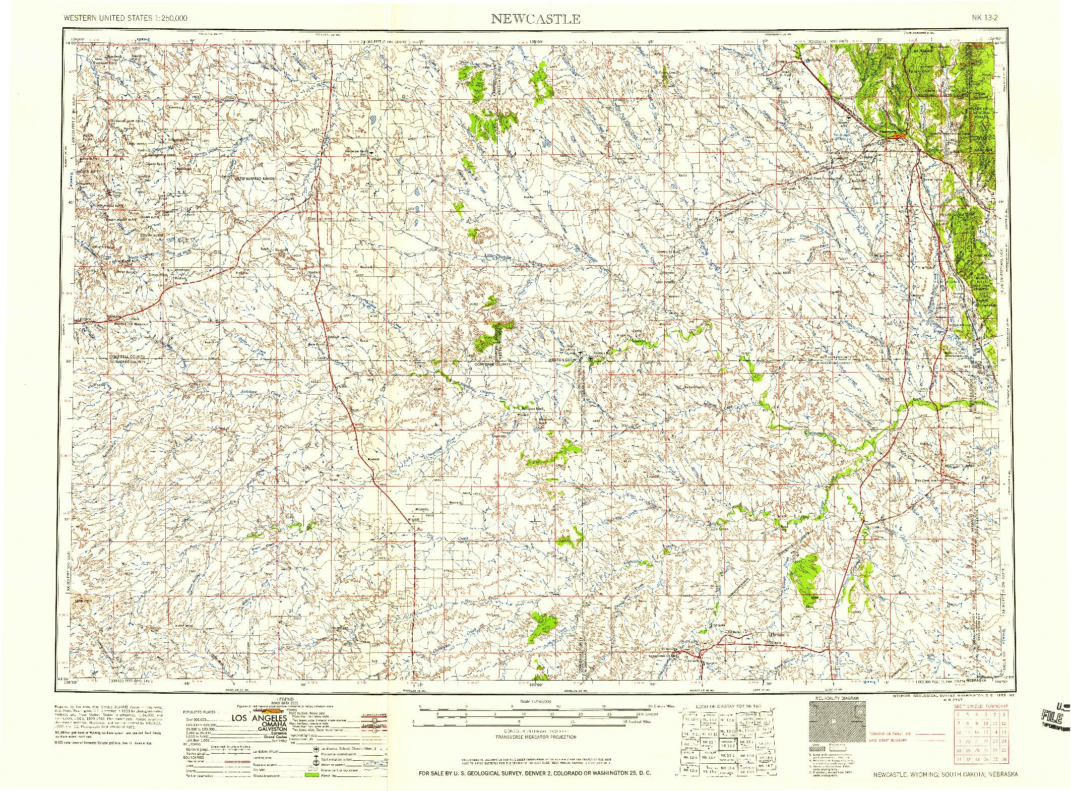 USGS 1:250000-SCALE QUADRANGLE FOR NEWCASTLE, WY 1958