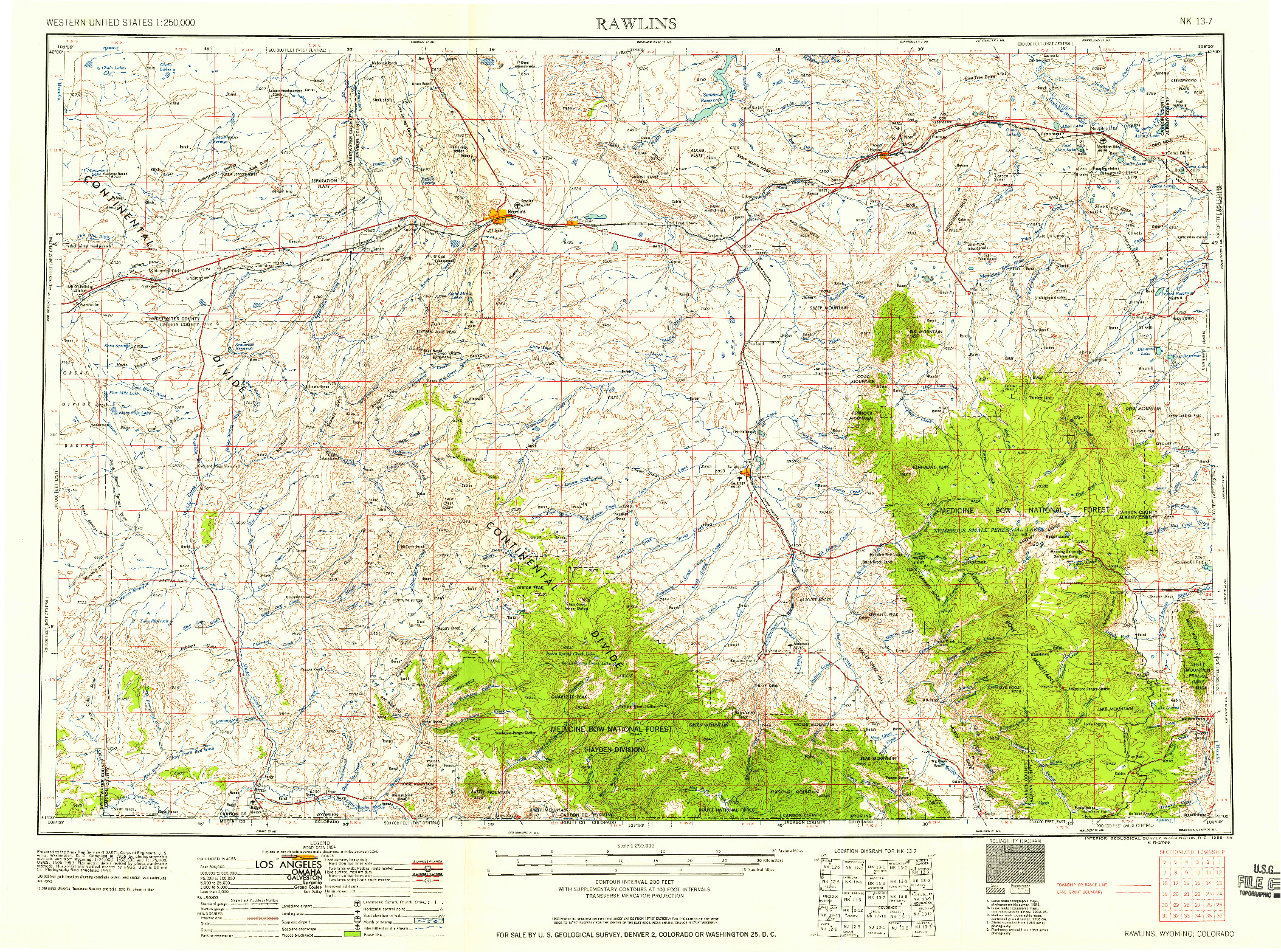 USGS 1:250000-SCALE QUADRANGLE FOR RAWLINS, WY 1958