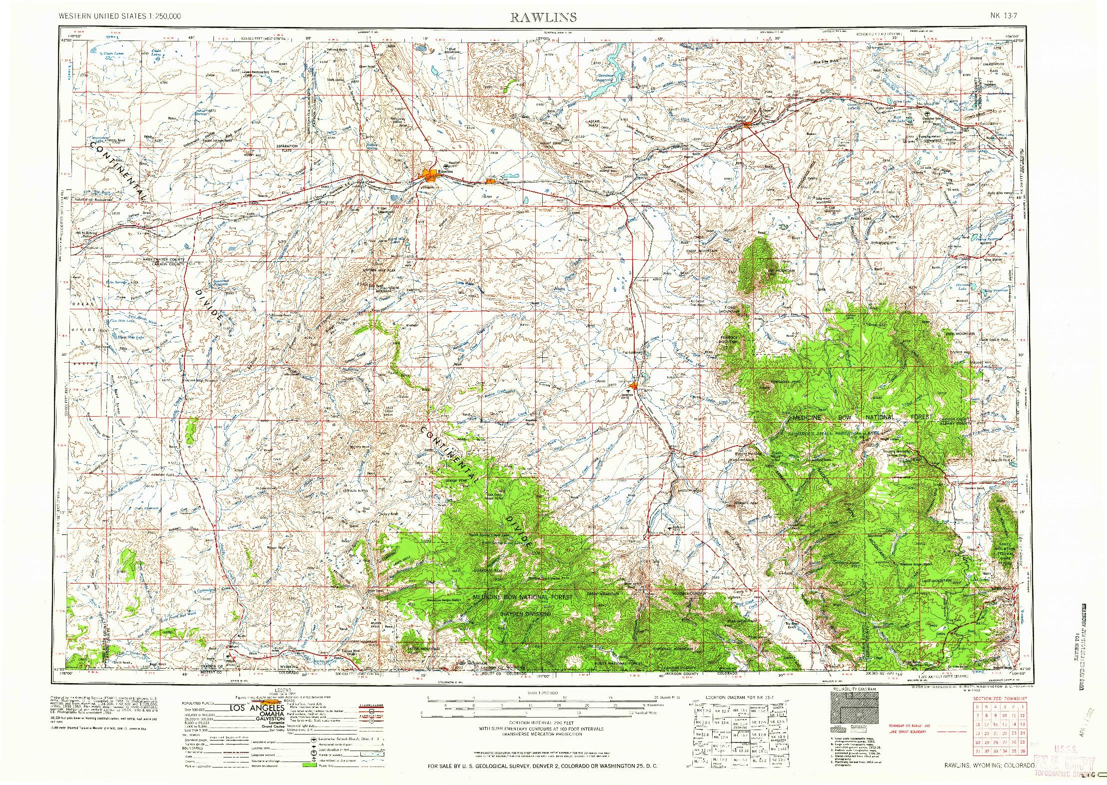 USGS 1:250000-SCALE QUADRANGLE FOR RAWLINS, WY 1958