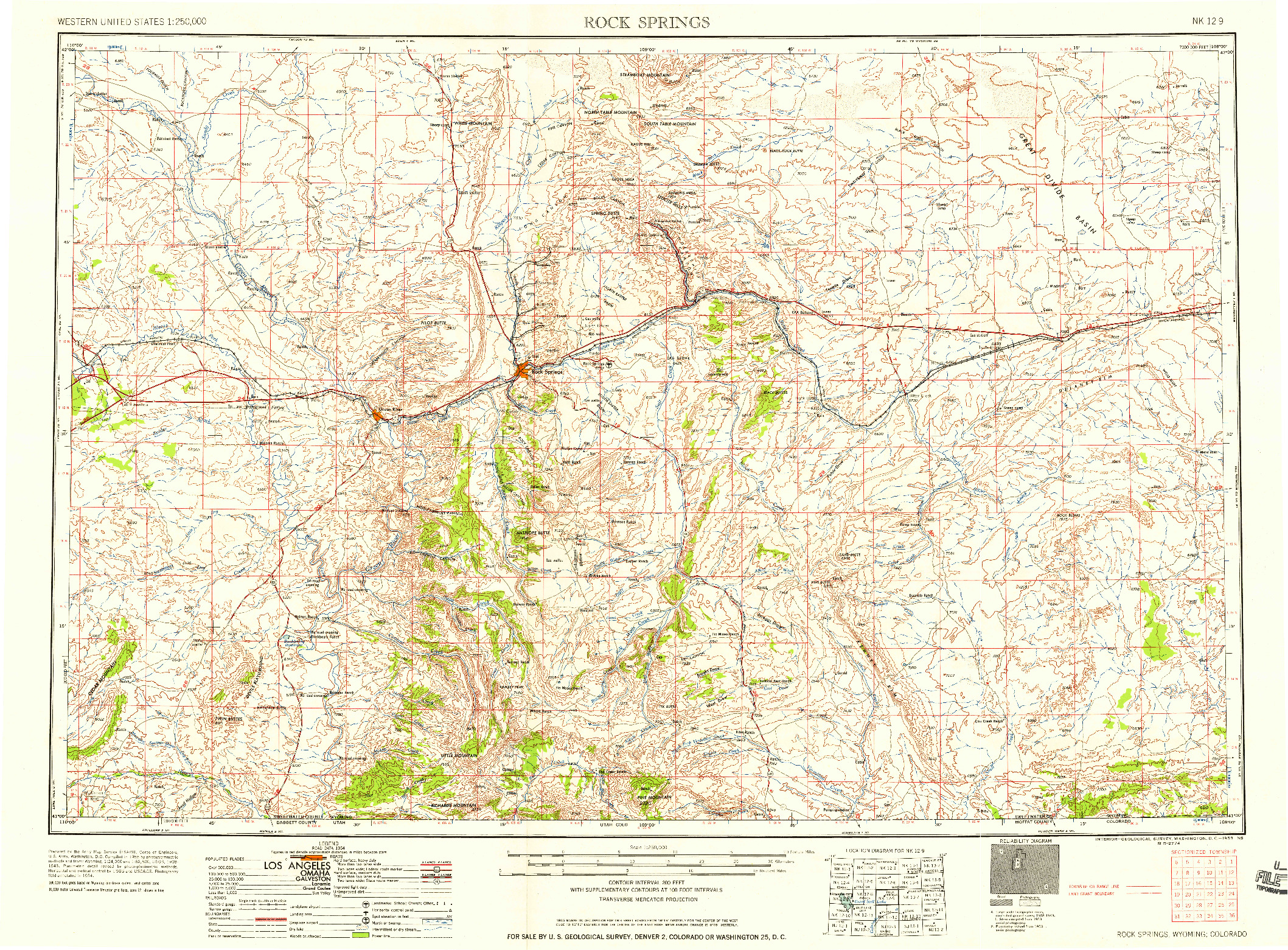 USGS 1:250000-SCALE QUADRANGLE FOR ROCK SPRINGS, WY 1958