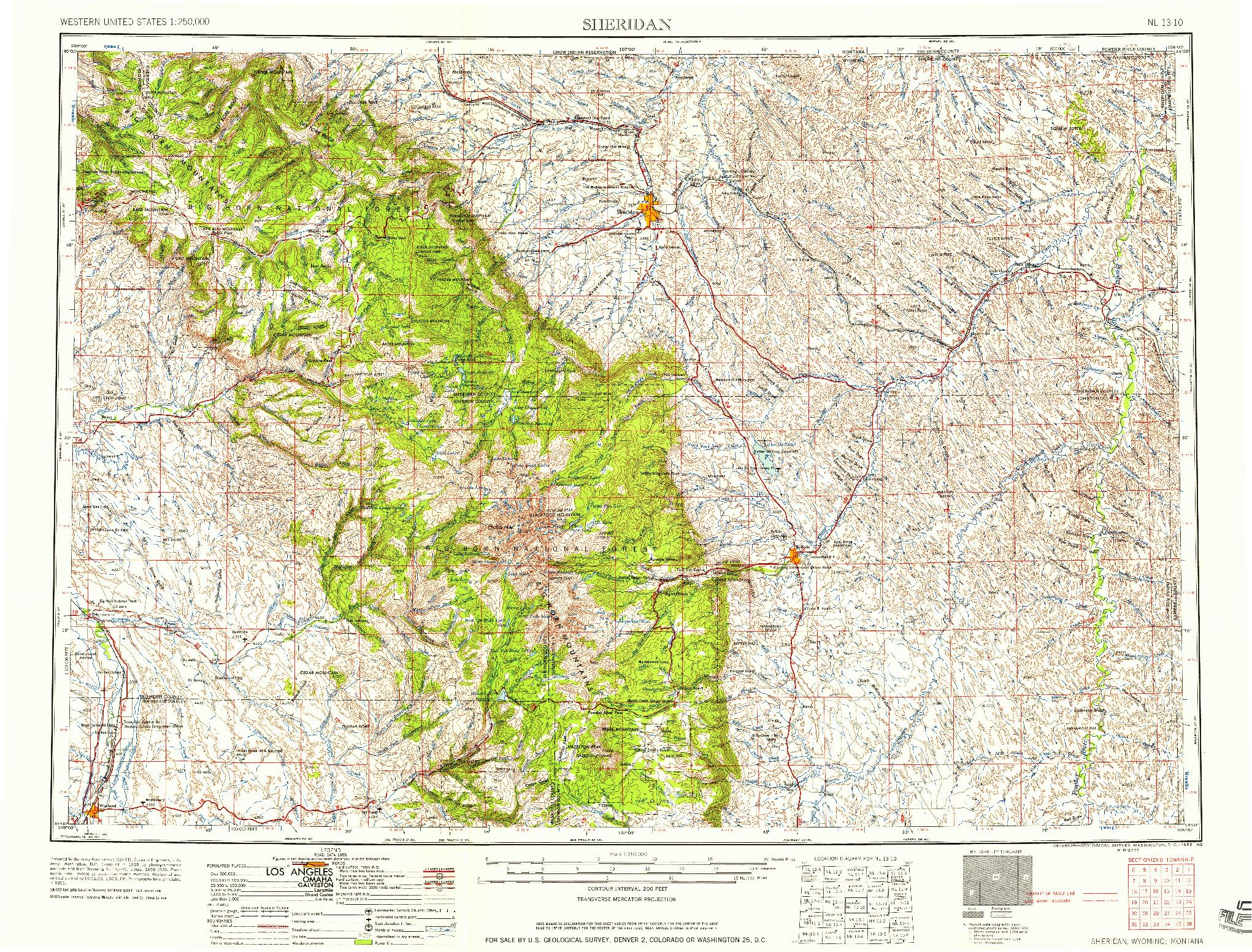 USGS 1:250000-SCALE QUADRANGLE FOR SHERIDAN, WY 1958