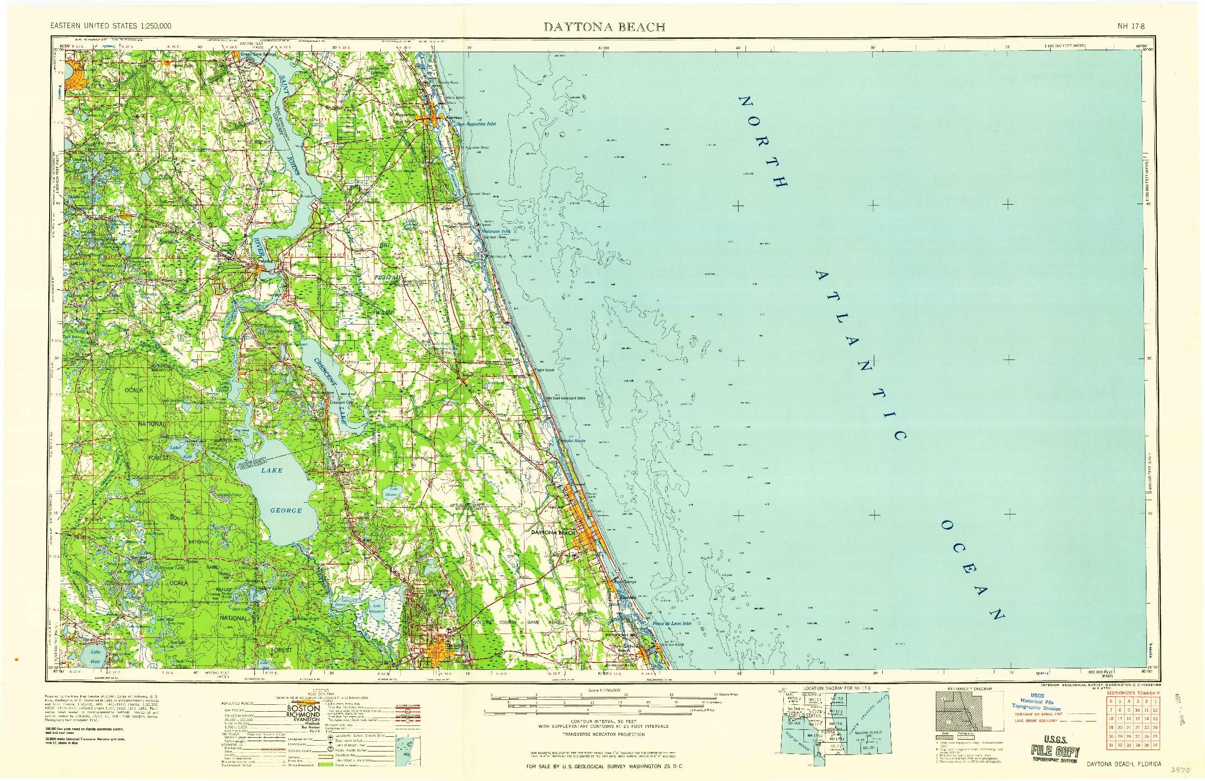 USGS 1:250000-SCALE QUADRANGLE FOR DAYTONA BEACH, FL 1958