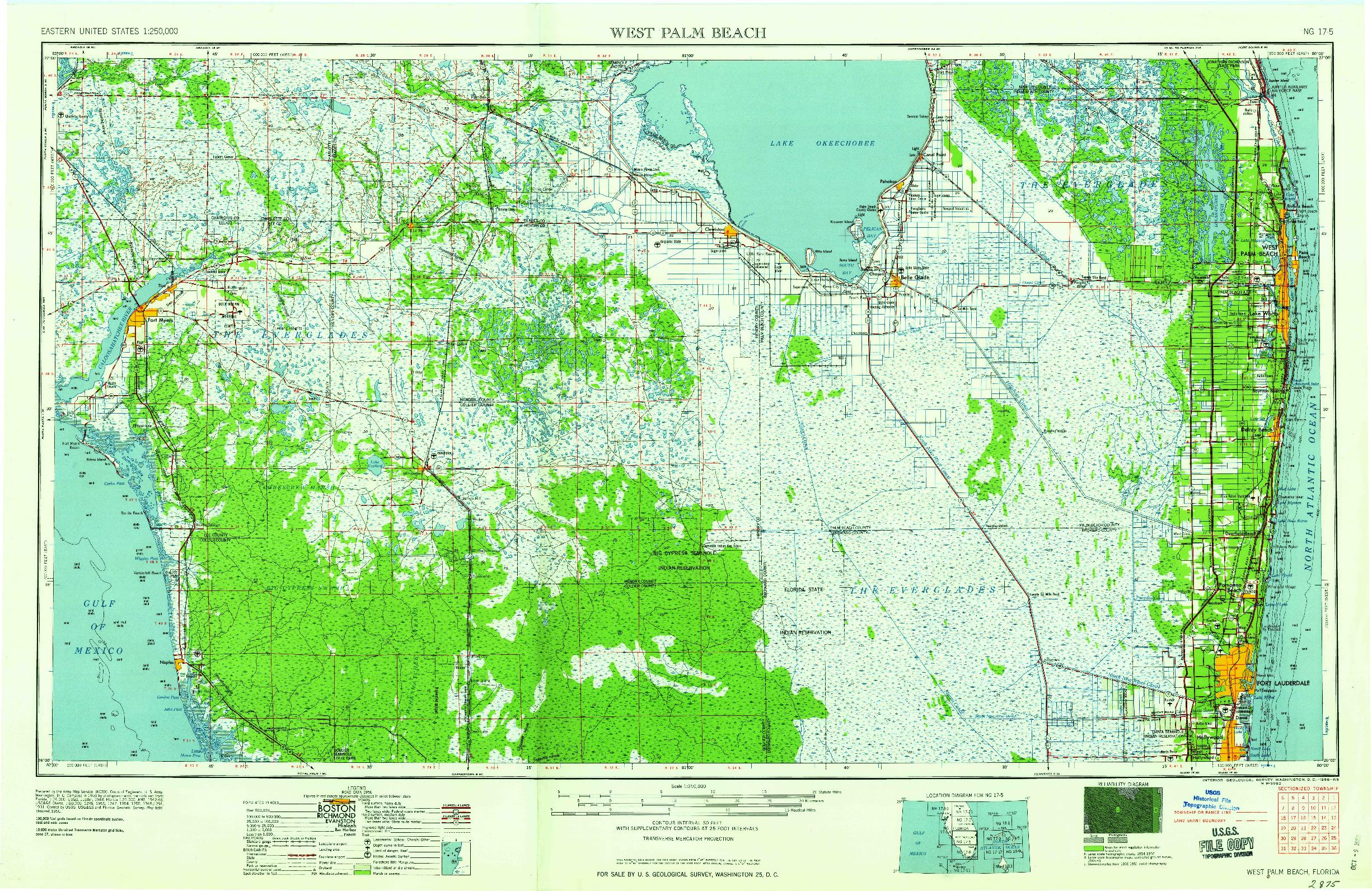 USGS 1:250000-SCALE QUADRANGLE FOR WEST PALM BEACH, FL 1958