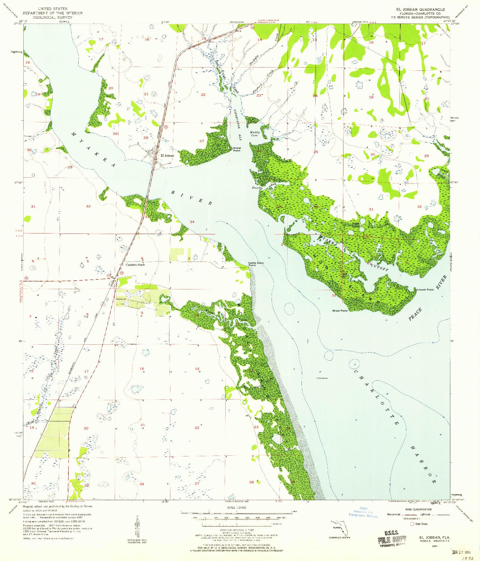 USGS 1:24000-SCALE QUADRANGLE FOR EL JOBEAN, FL 1957