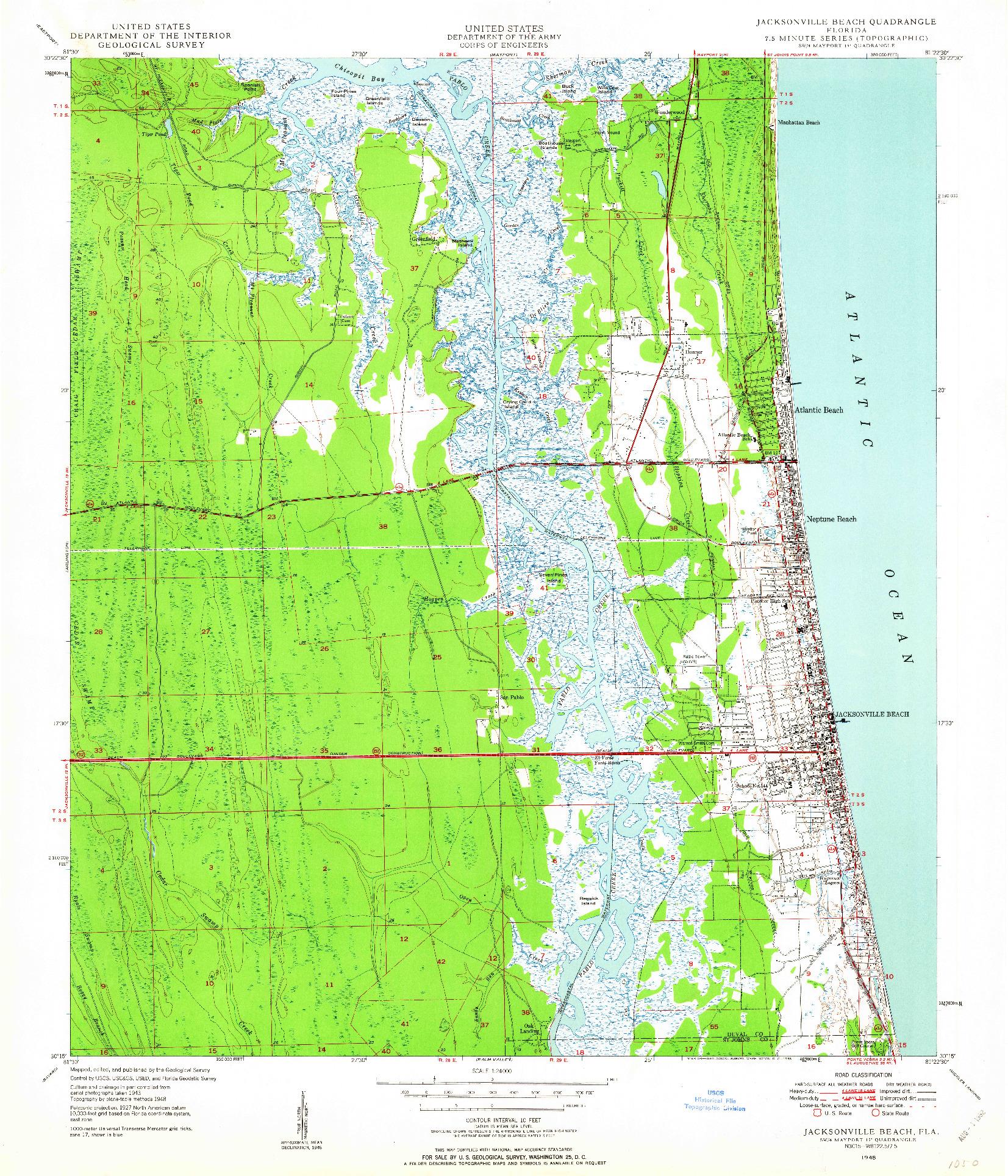 USGS 1:24000-SCALE QUADRANGLE FOR JACKSONVILLE BEACH, FL 1948