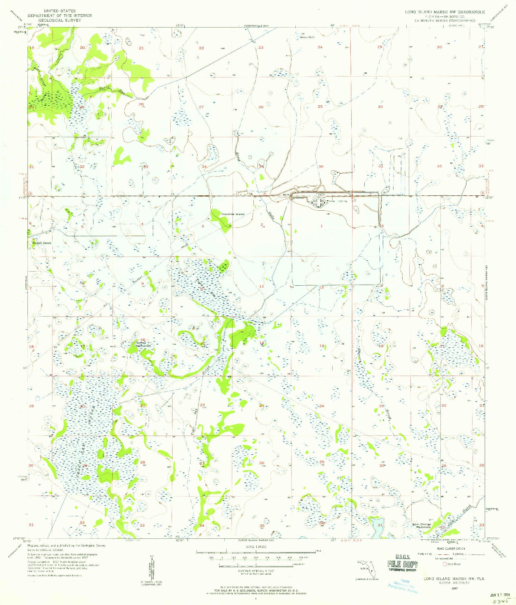 USGS 1:24000-SCALE QUADRANGLE FOR LONG ISLAND MARSH NW, FL 1957