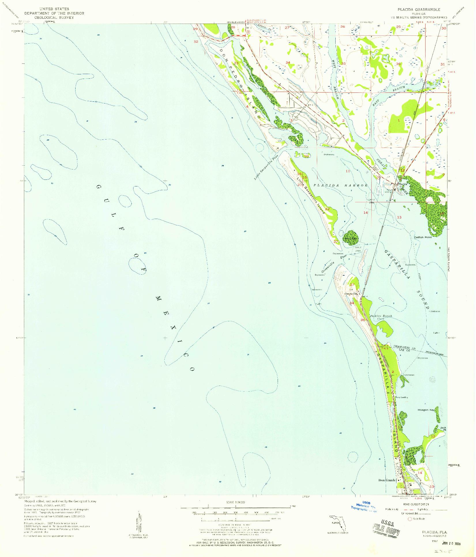 USGS 1:24000-SCALE QUADRANGLE FOR PLACIDA, FL 1957