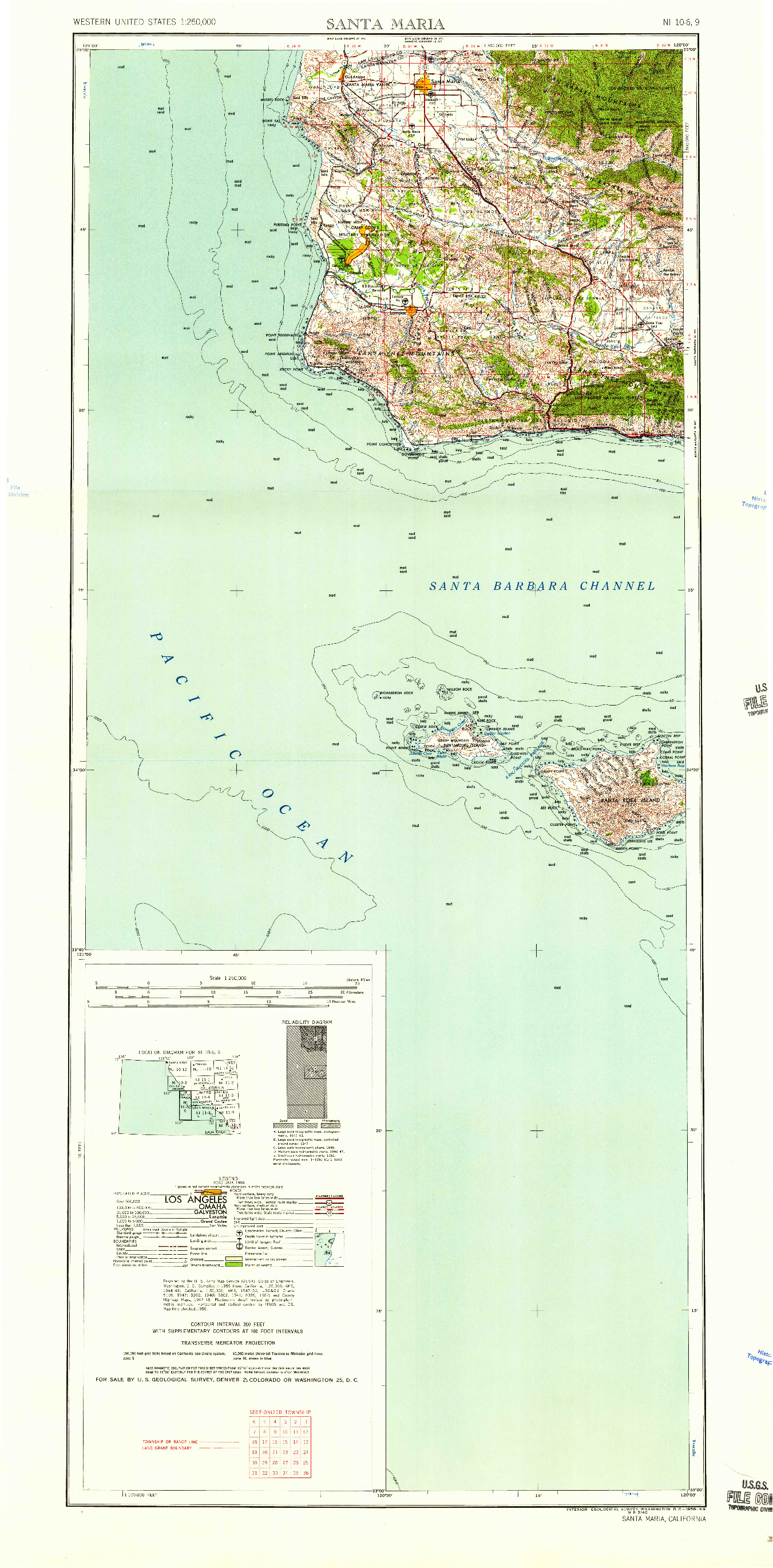USGS 1:250000-SCALE QUADRANGLE FOR SANTA MARIA, CA 1958