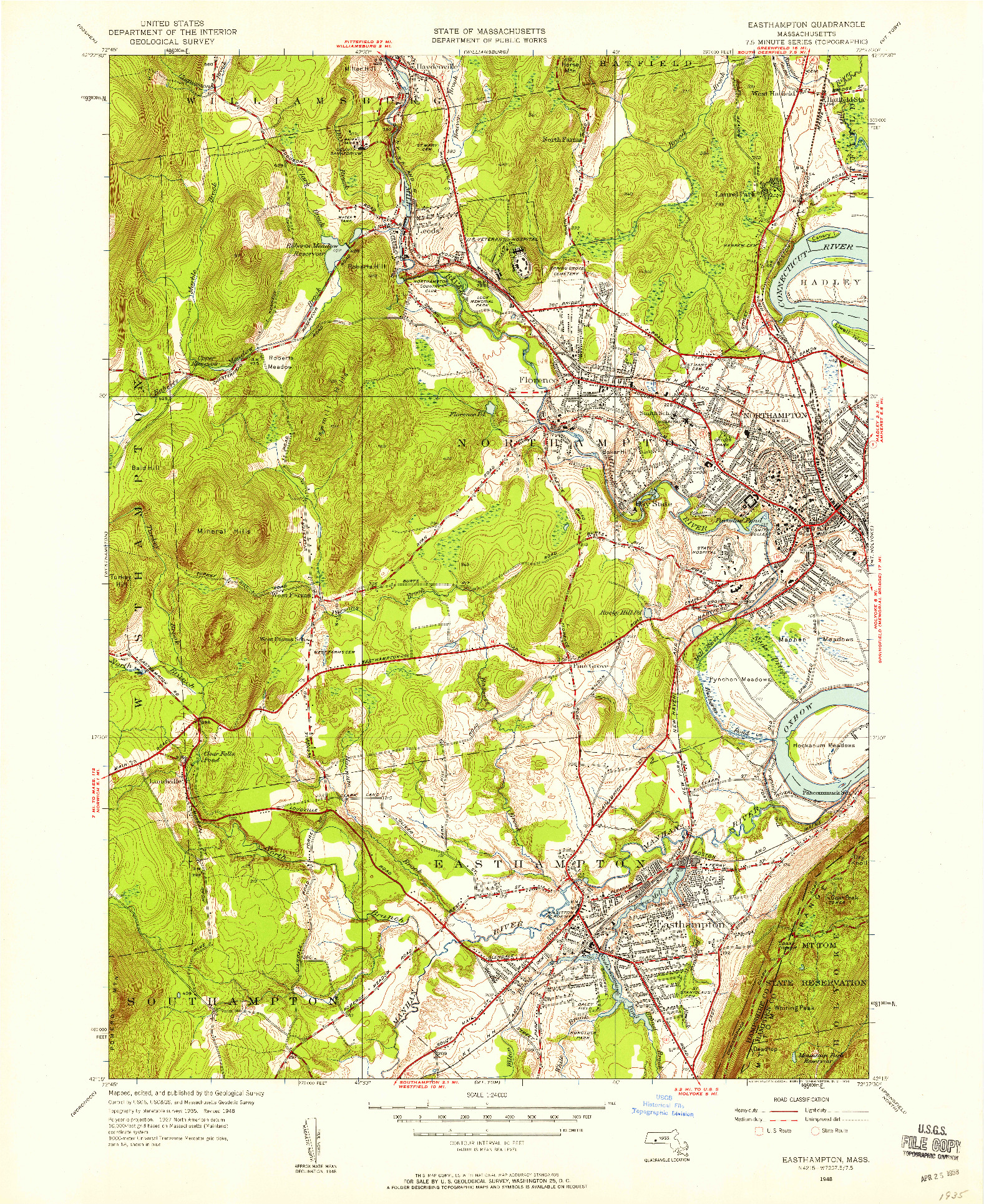 USGS 1:24000-SCALE QUADRANGLE FOR EASTHAMPTON, MA 1948
