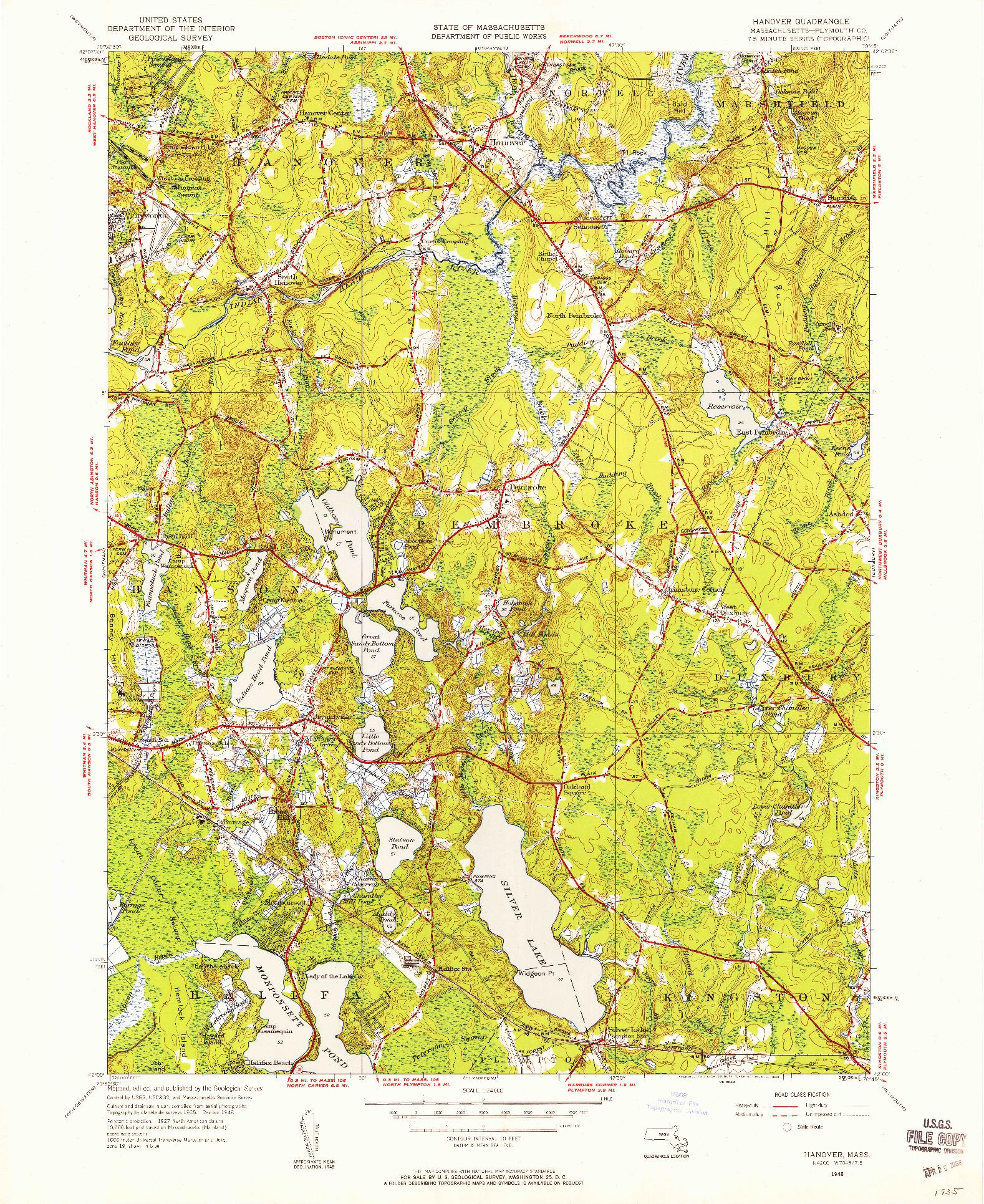 USGS 1:24000-SCALE QUADRANGLE FOR HANOVER, MA 1948