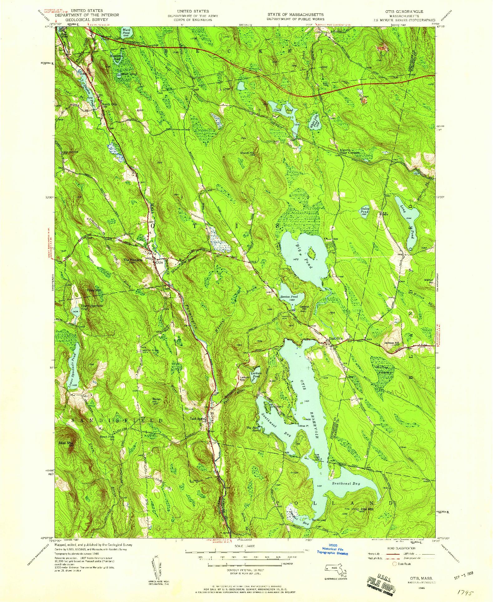 USGS 1:24000-SCALE QUADRANGLE FOR OTIS, MA 1946