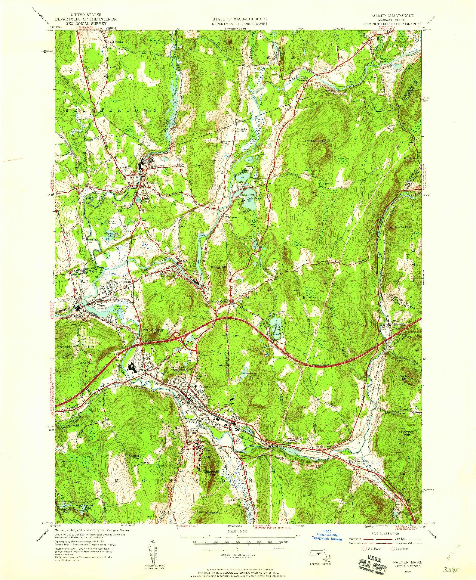 USGS 1:24000-SCALE QUADRANGLE FOR PALMER, MA 1954