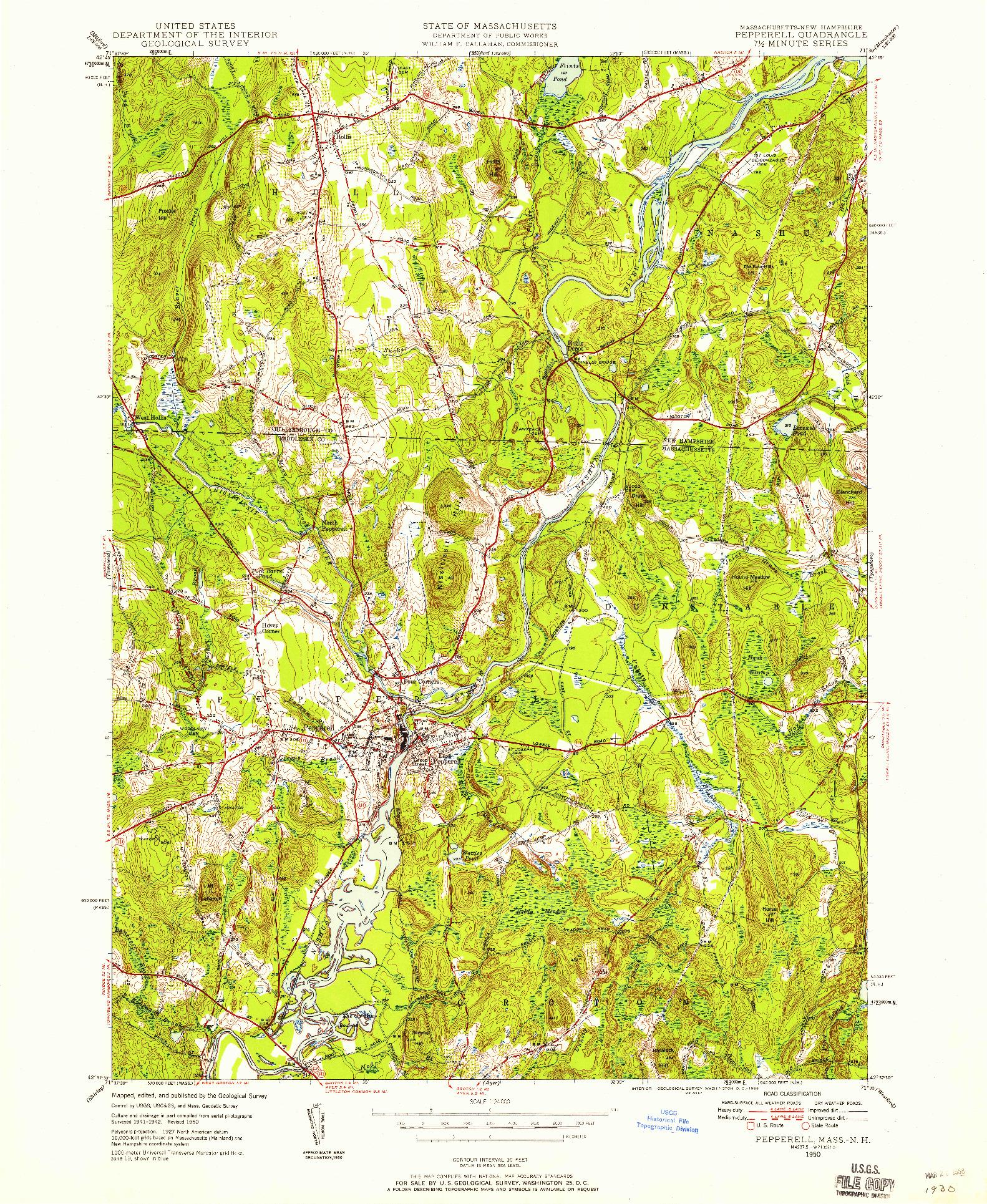 USGS 1:24000-SCALE QUADRANGLE FOR PEPPERELL, MA 1950