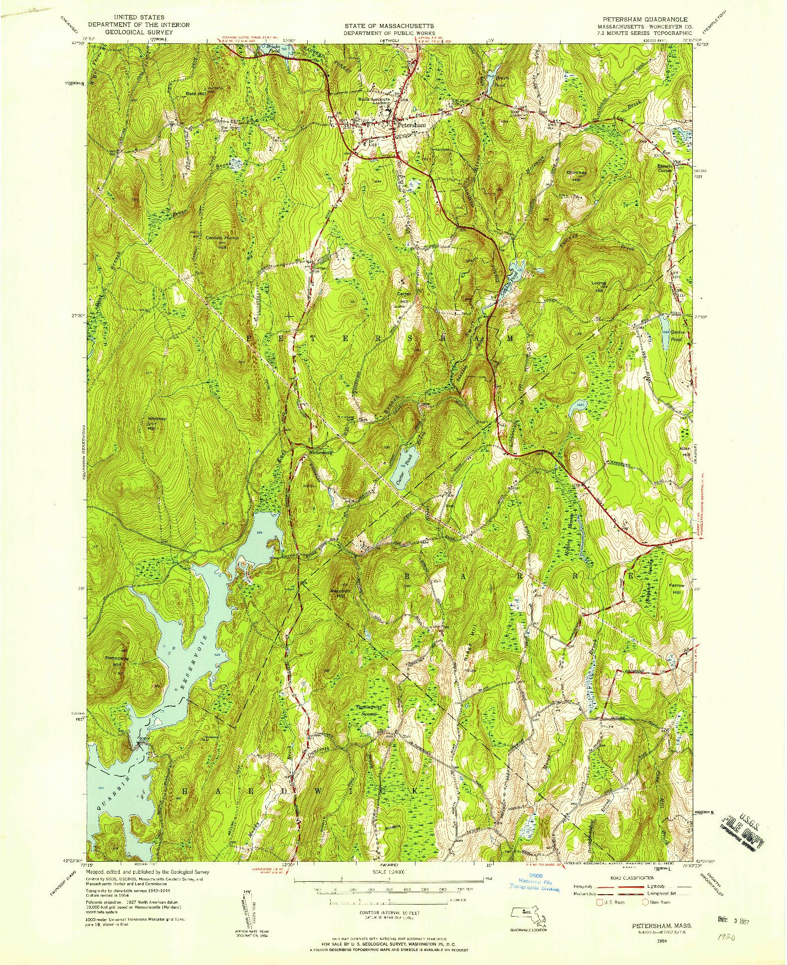 USGS 1:24000-SCALE QUADRANGLE FOR PETERSHAM, MA 1954