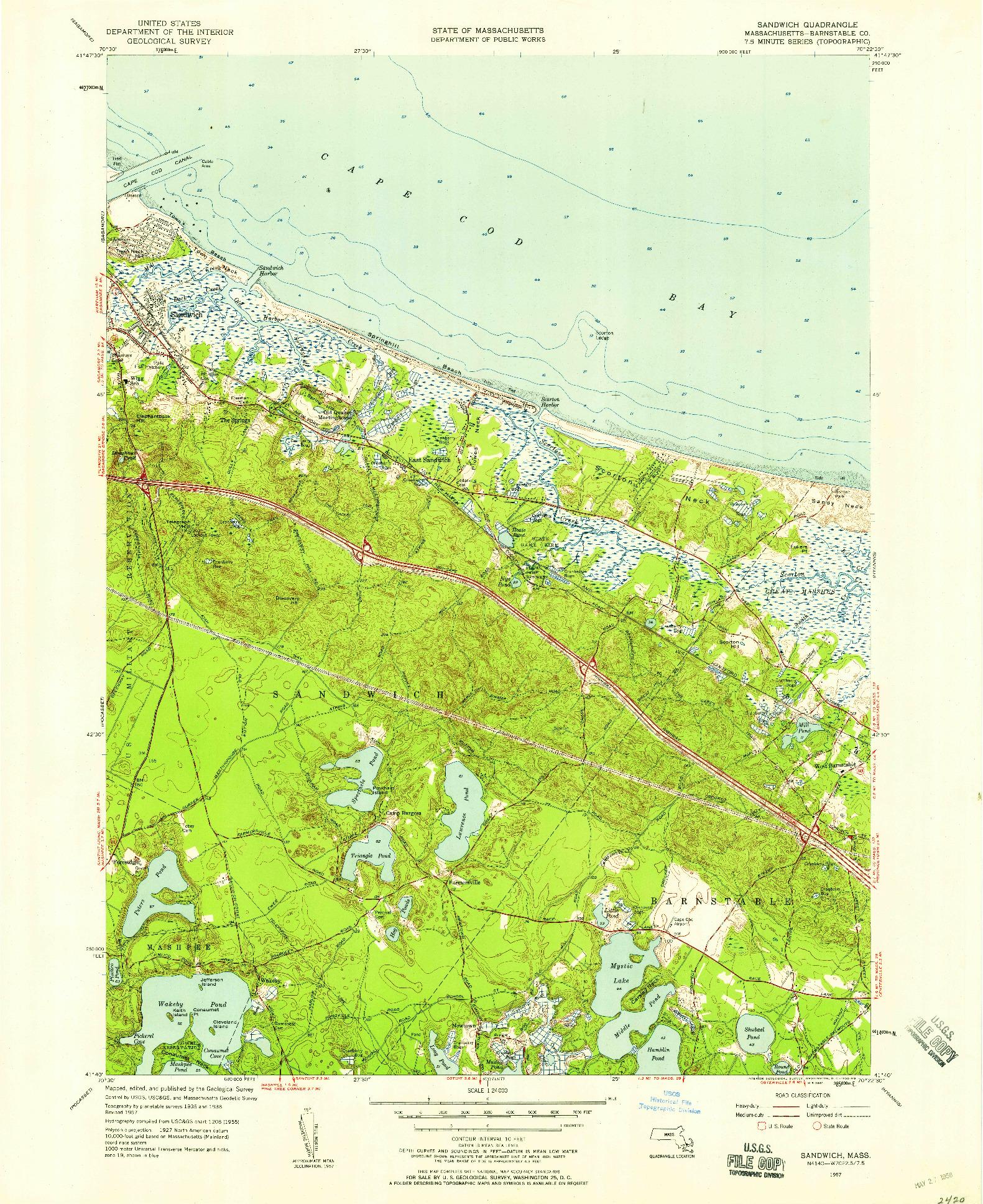 USGS 1:24000-SCALE QUADRANGLE FOR SANDWICH, MA 1957