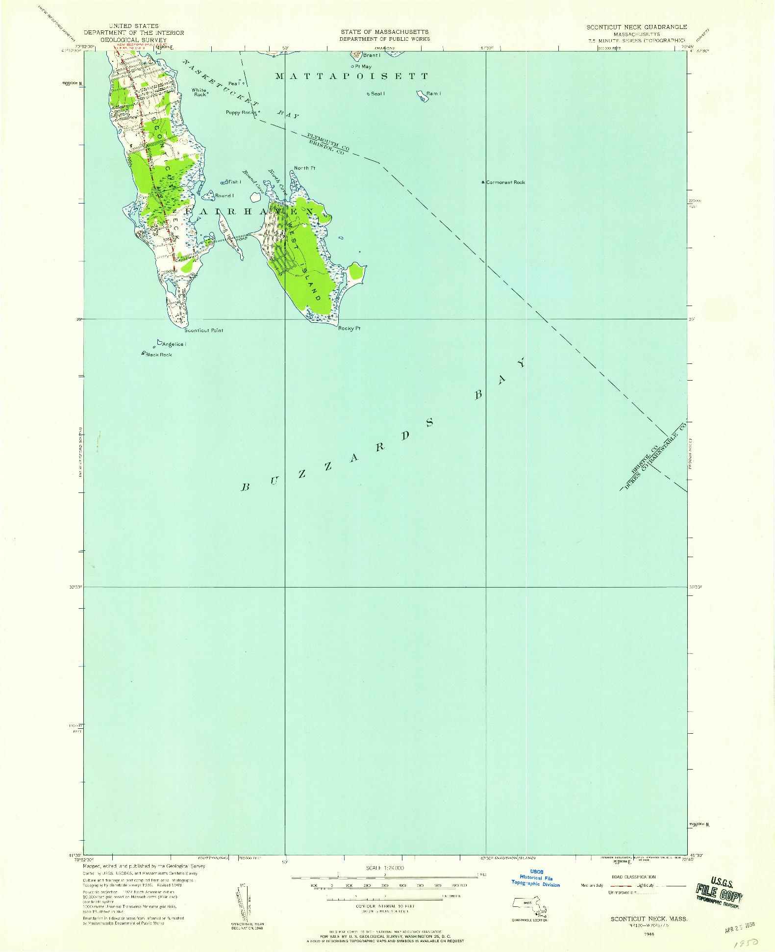 USGS 1:24000-SCALE QUADRANGLE FOR SCONTICUT NECK, MA 1948