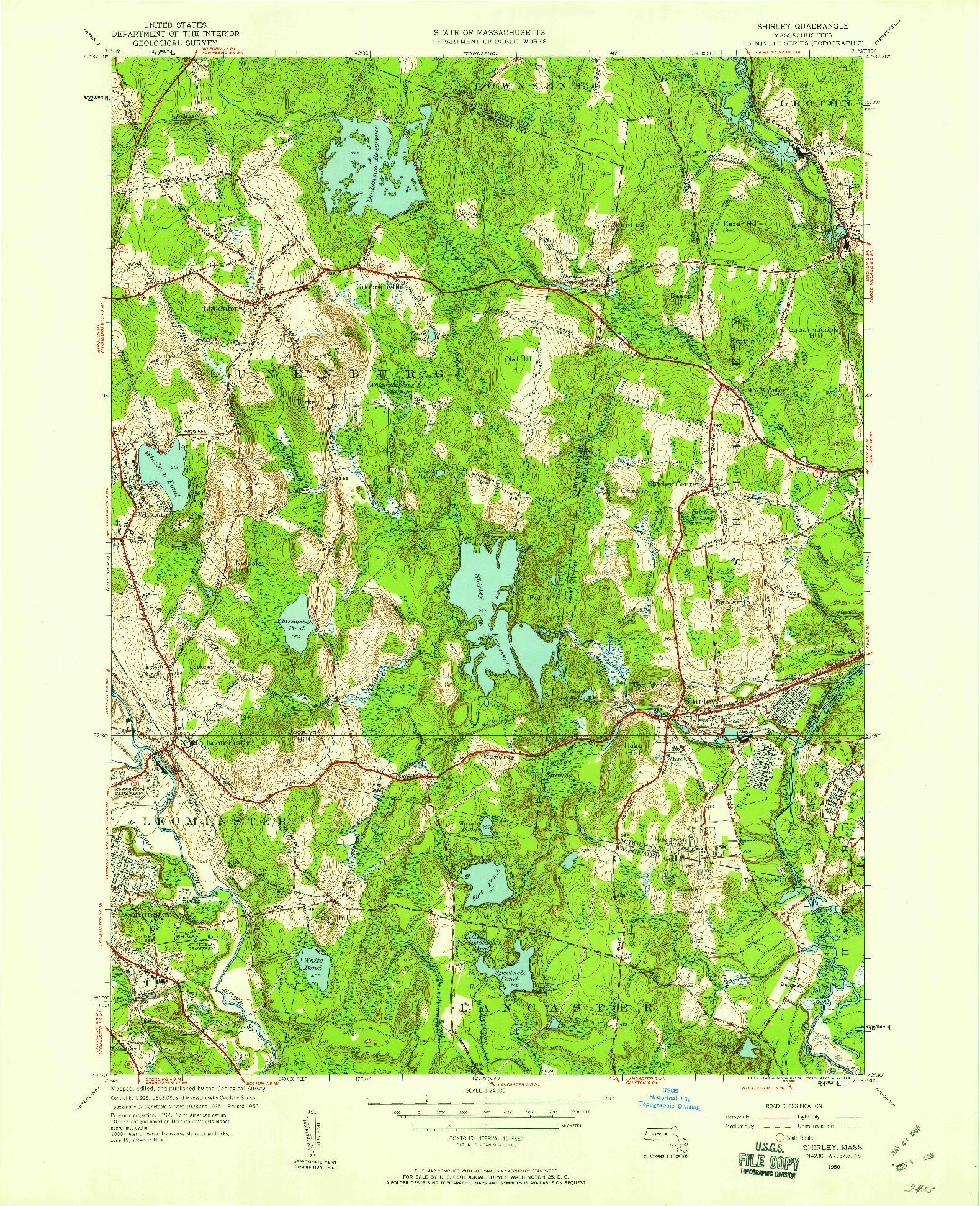 USGS 1:24000-SCALE QUADRANGLE FOR SHIRLEY, MA 1950