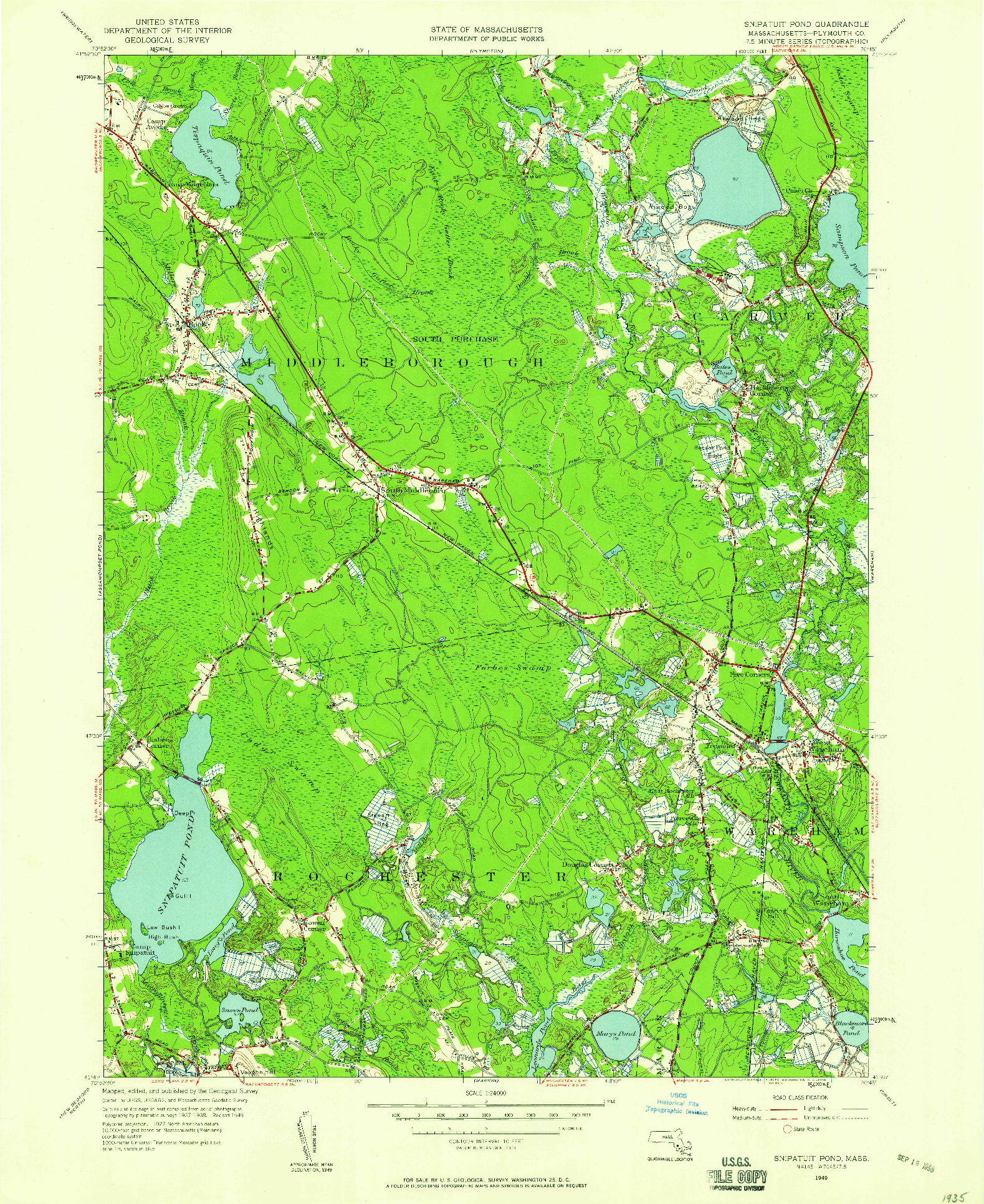 USGS 1:24000-SCALE QUADRANGLE FOR SNIPATUIT POND, MA 1949