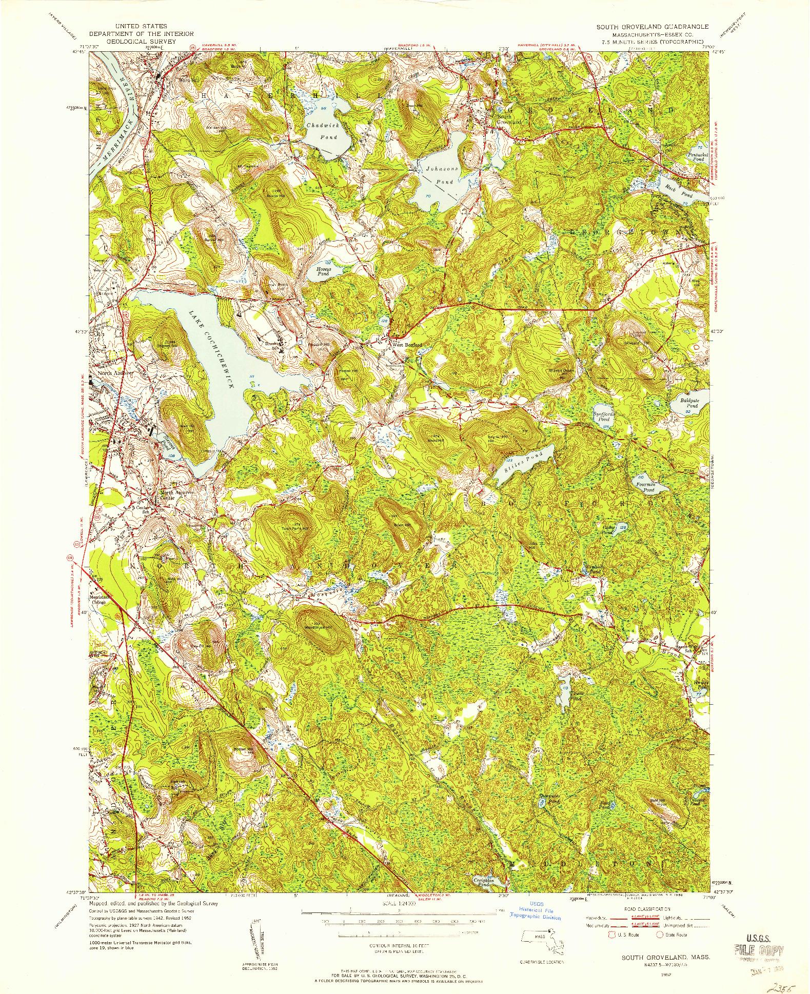USGS 1:24000-SCALE QUADRANGLE FOR SOUTH GROVELAND, MA 1952