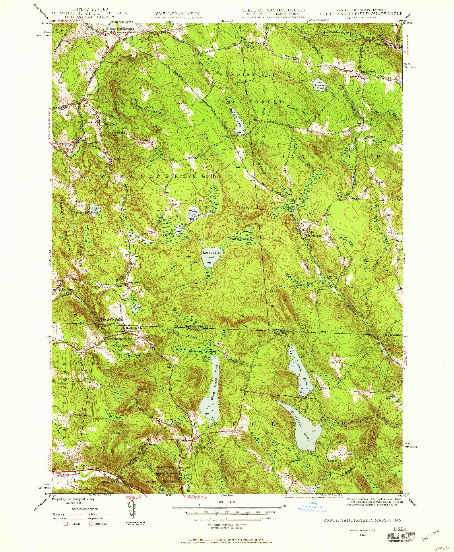 USGS 1:24000-SCALE QUADRANGLE FOR SOUTH SANDISFIELD, MA 1946