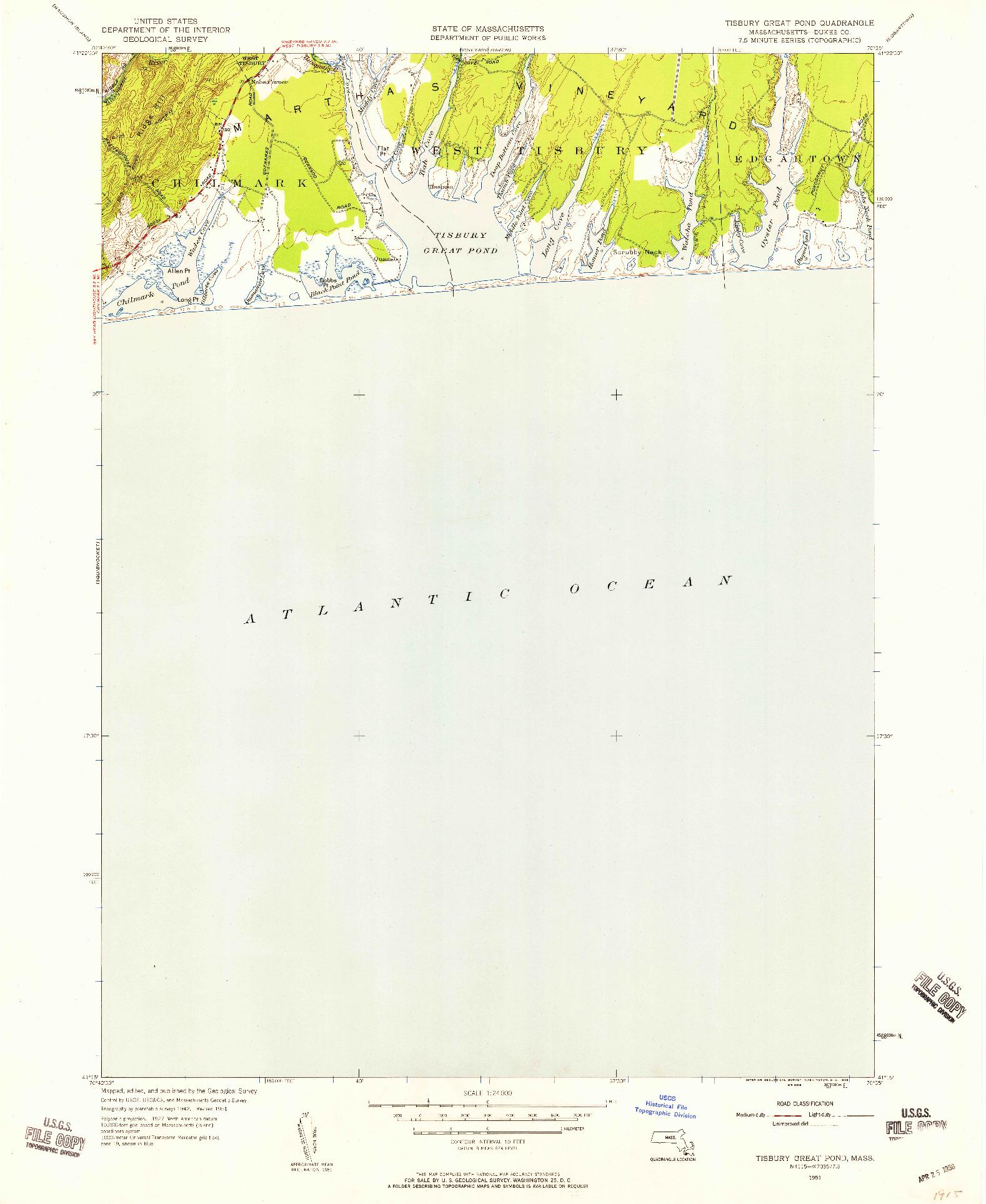 USGS 1:24000-SCALE QUADRANGLE FOR TISBURY GREAT POND, MA 1951