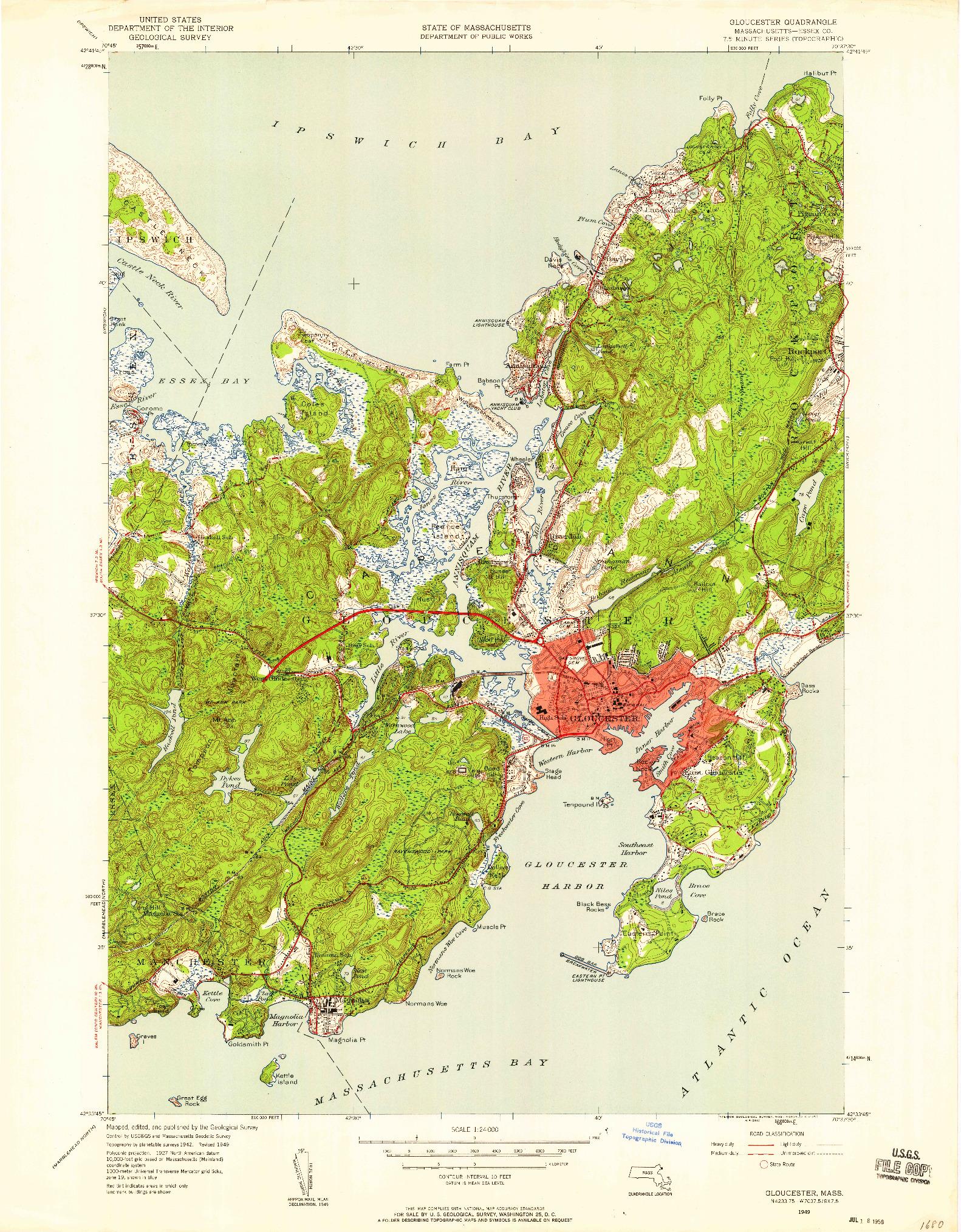 USGS 1:24000-SCALE QUADRANGLE FOR GLOUCESTER, MA 1949